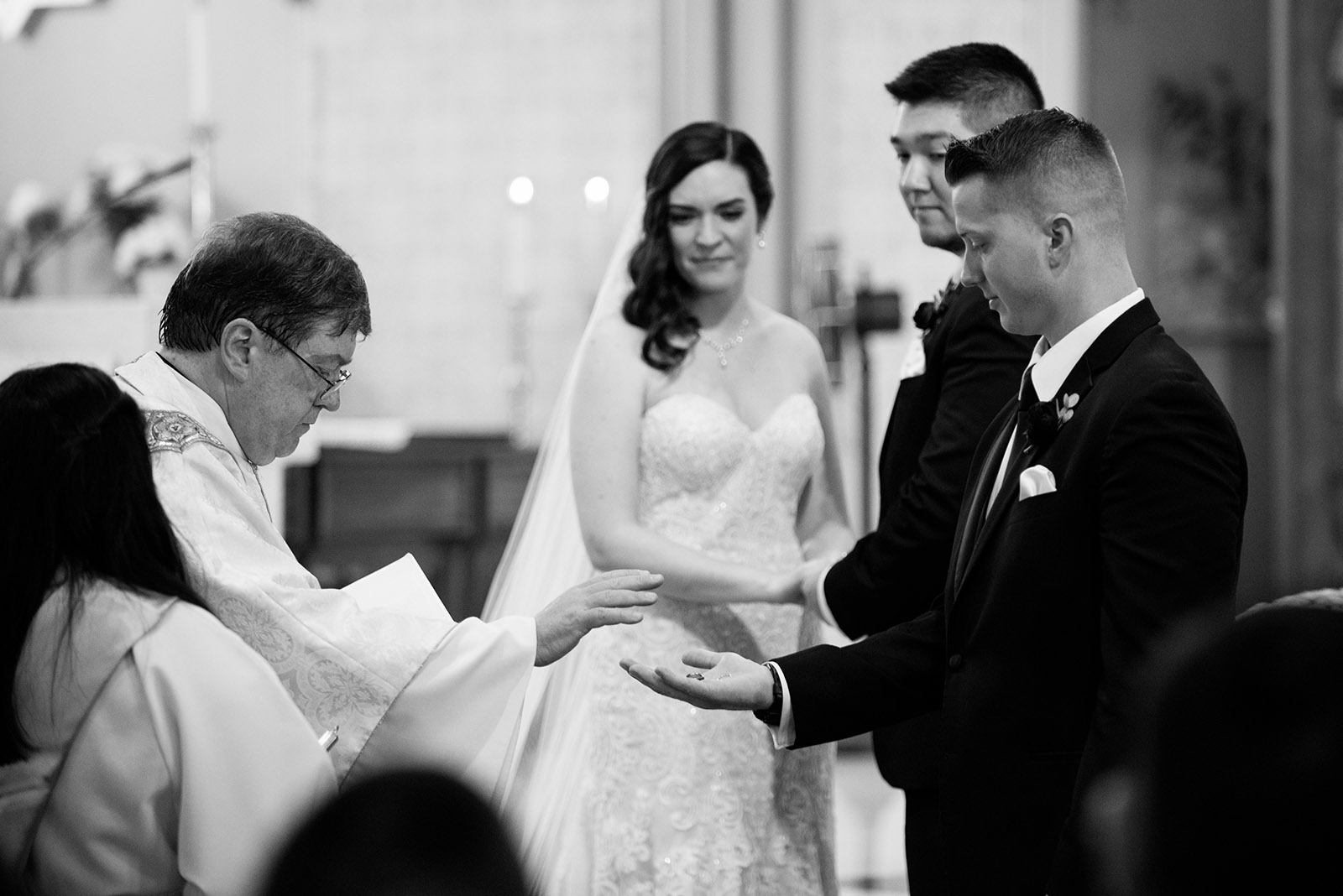 Priest Blessing Rings St Alphonsus Wedding
