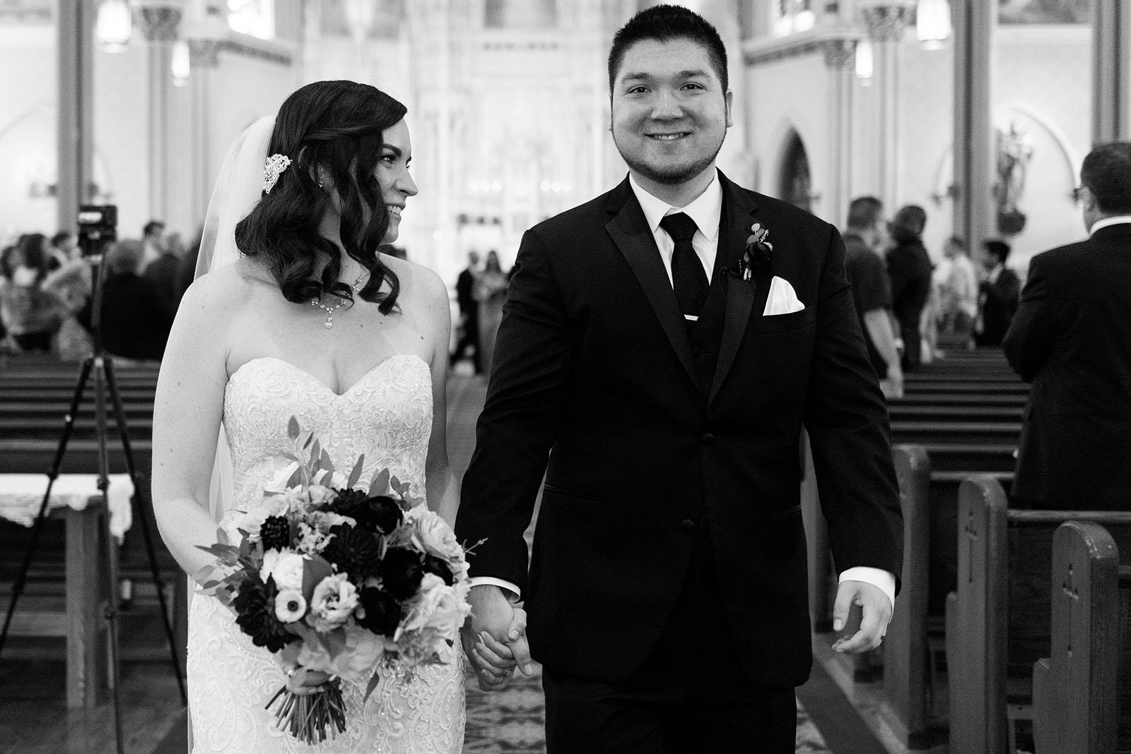 Bride Groom Coming Down Aisle Black White