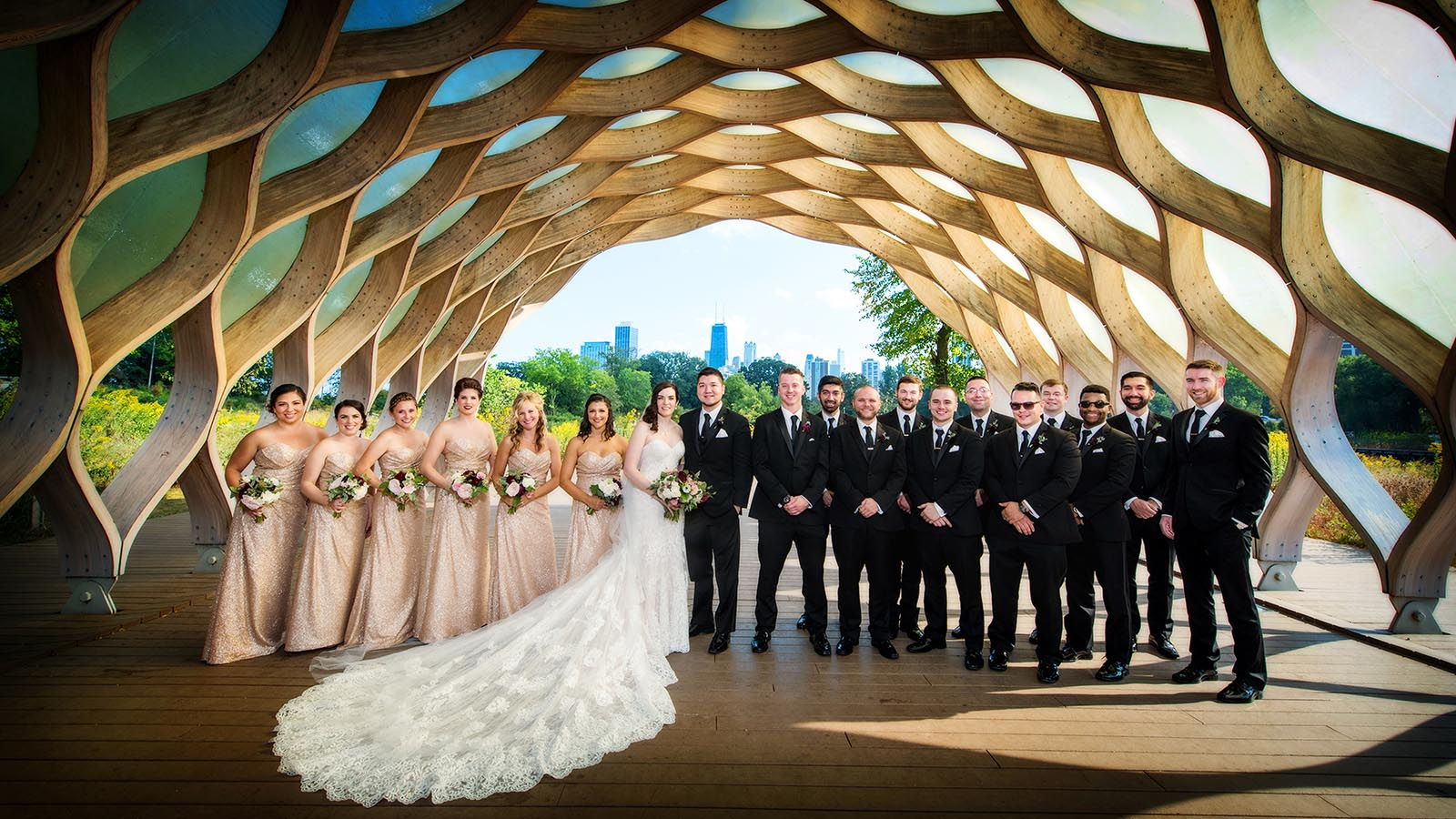 Bridal Party Honeycomb Nature Boardwalk Lincoln Park Zoo Chicago