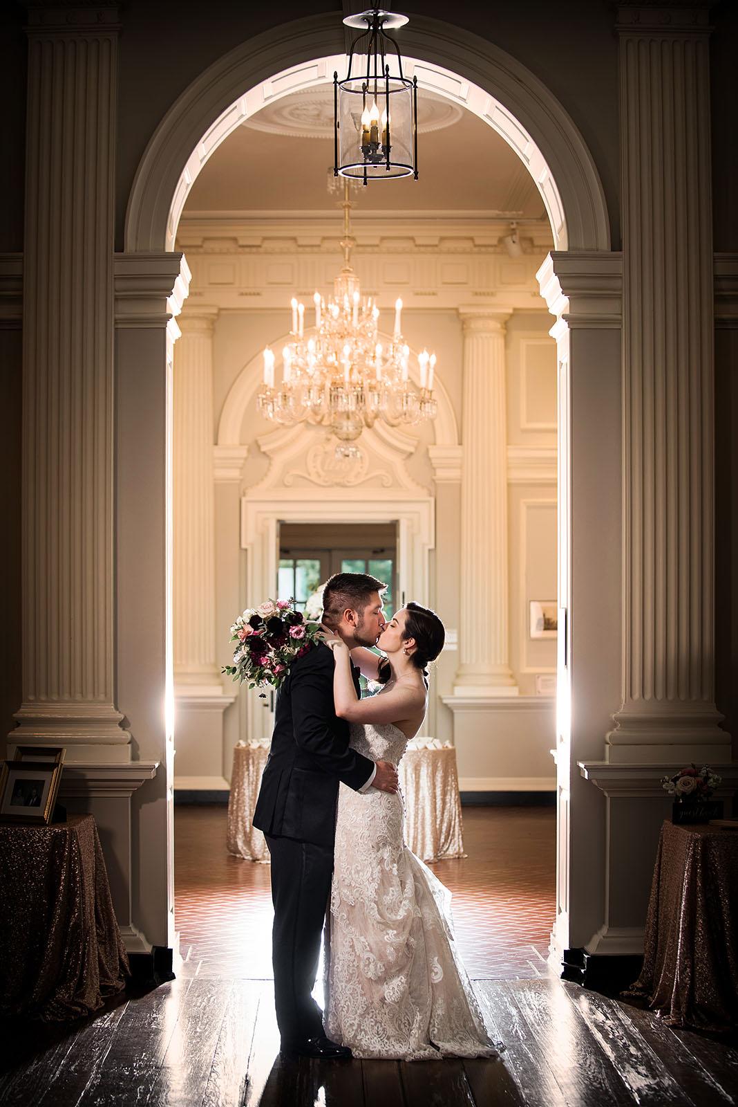 Bride Groom Chicago History Museum Wedding Photo Portrait