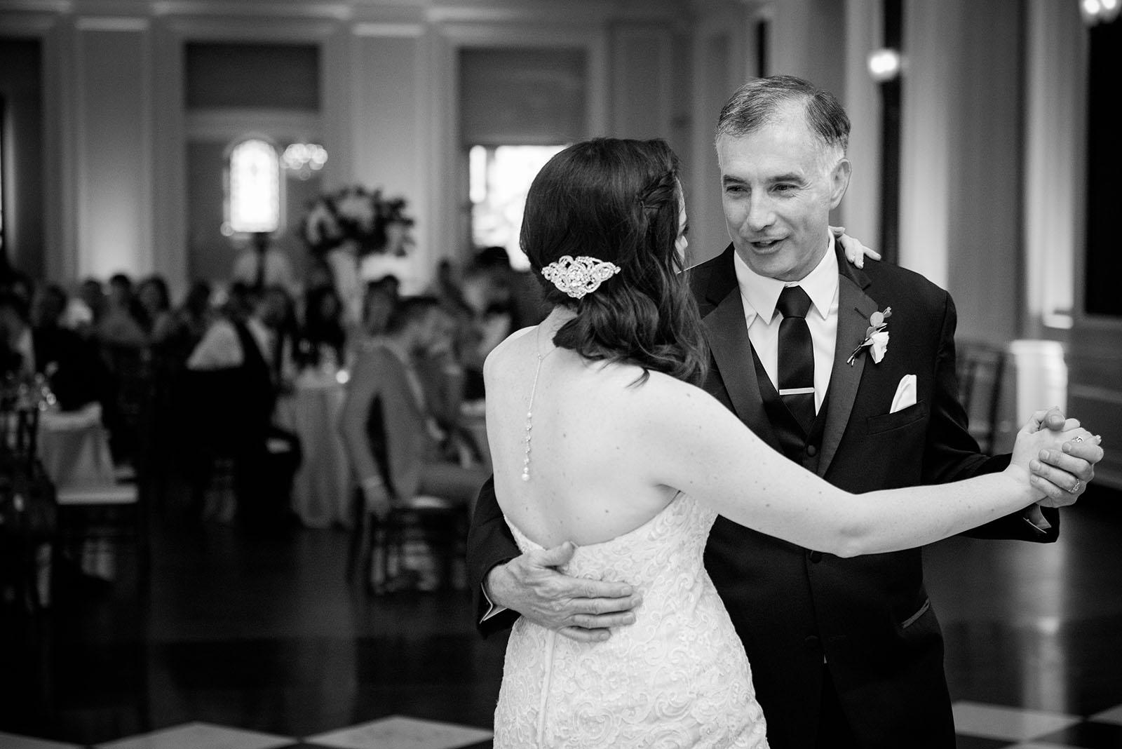 Bride Father Dancing Black White