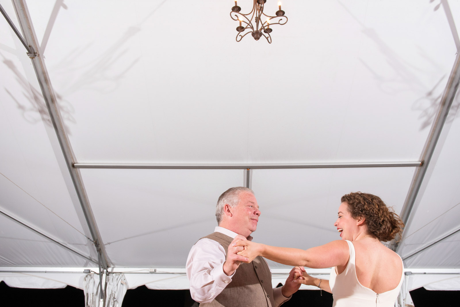 Father Bride Dancing Tent Wedding Reception