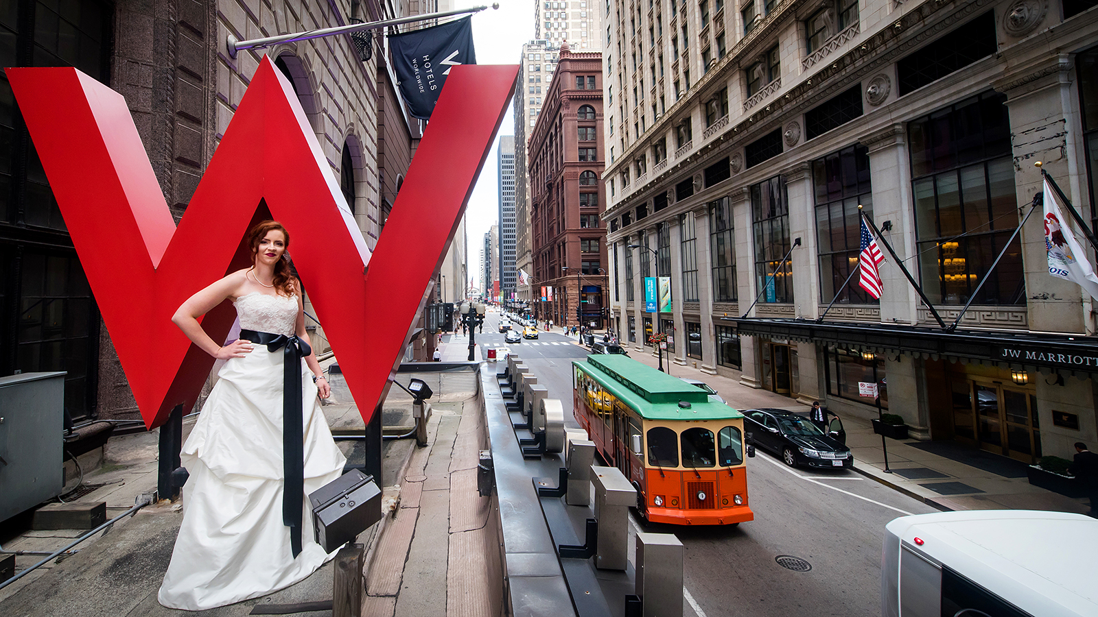 Bride on Marquee of W Hotel Chicago City Center
