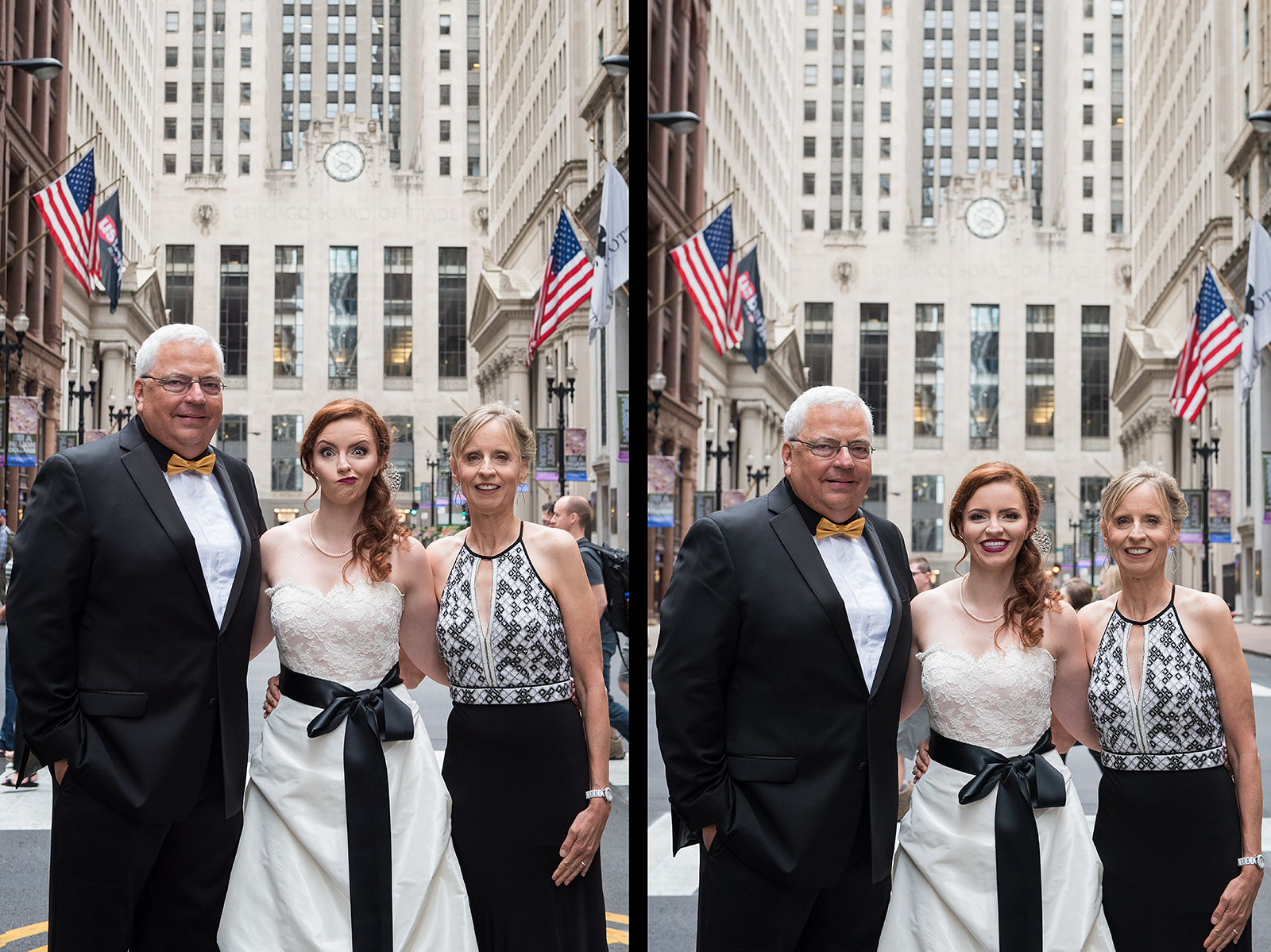 Bride with Family at Board of Trade on LaSalle Street Chicago