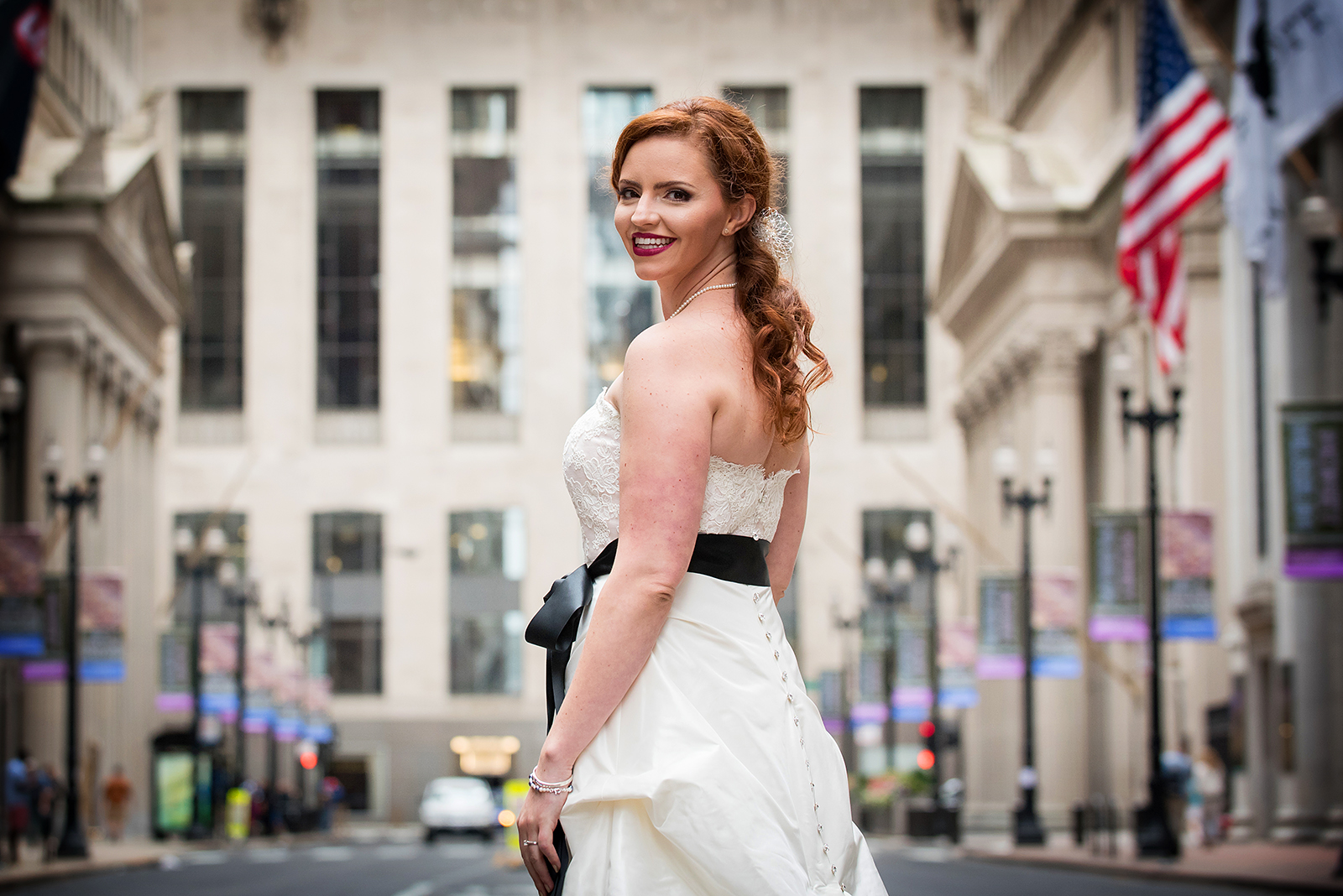 Bride Laughing at Board of Trade in Chicago