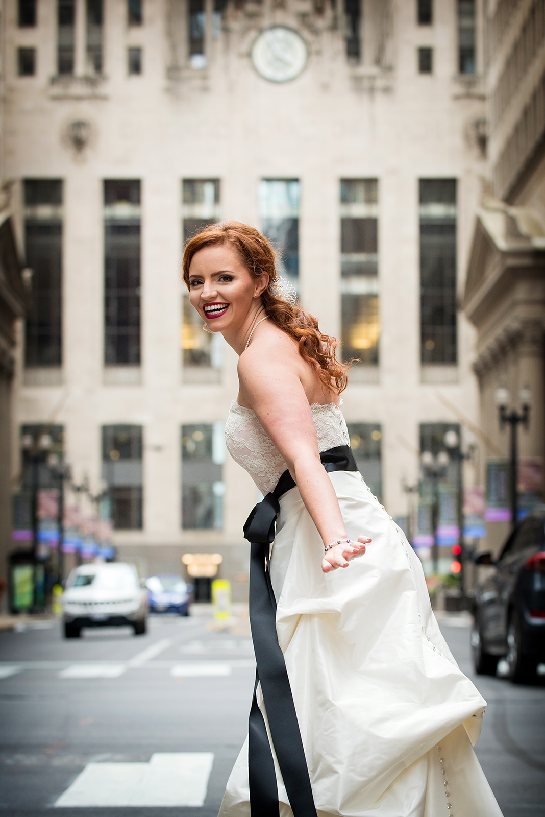 Bride Smiling at Board of Trade in Chicago