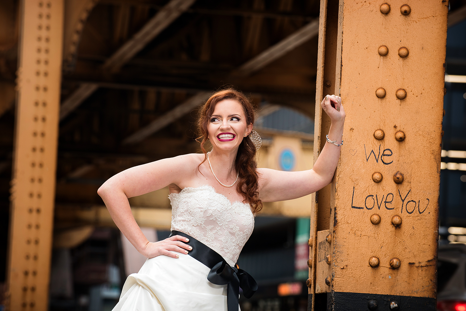 Bride at Wedding in downtown Chicago under EL train