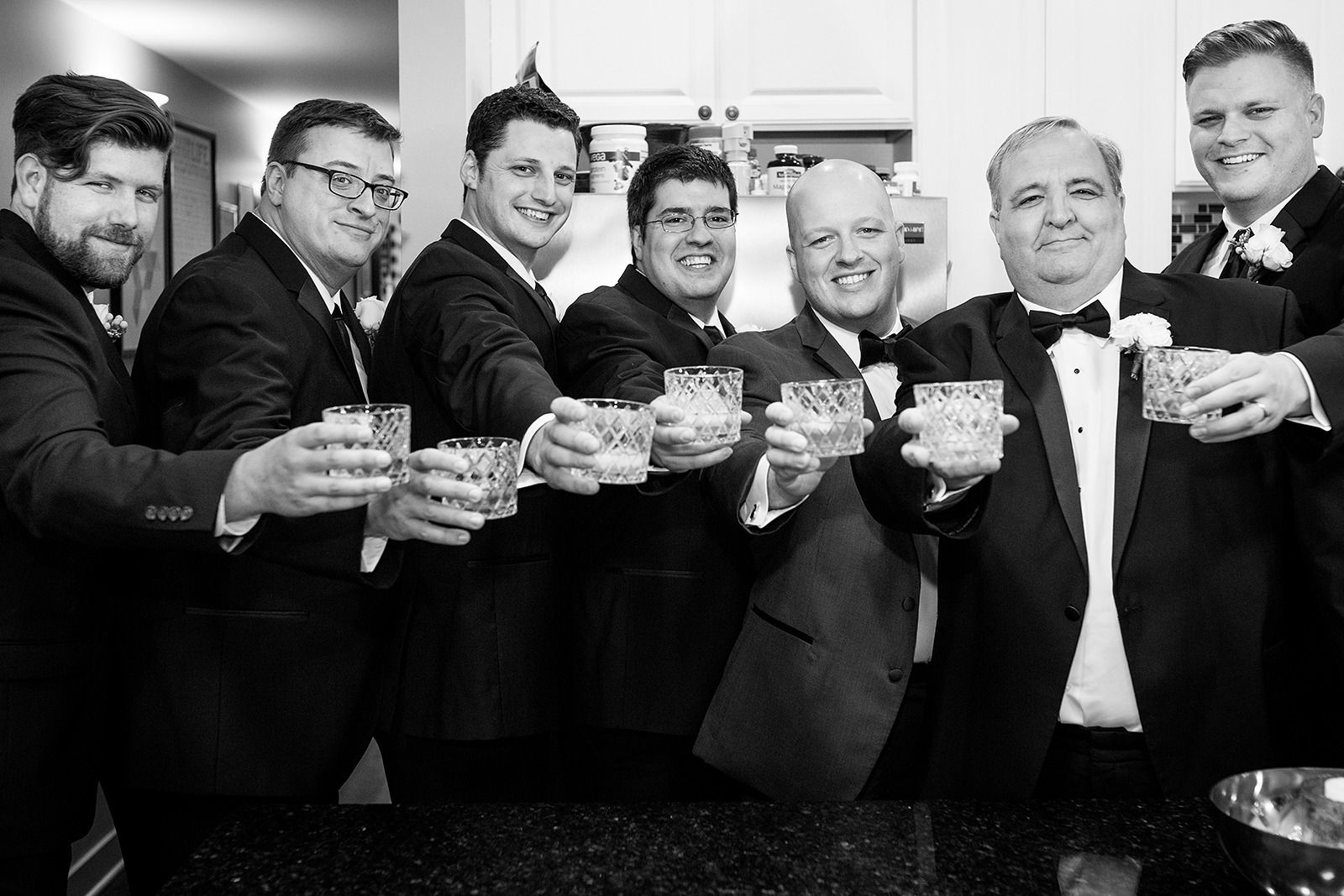 Groomsmen Toasting Black and White Photo