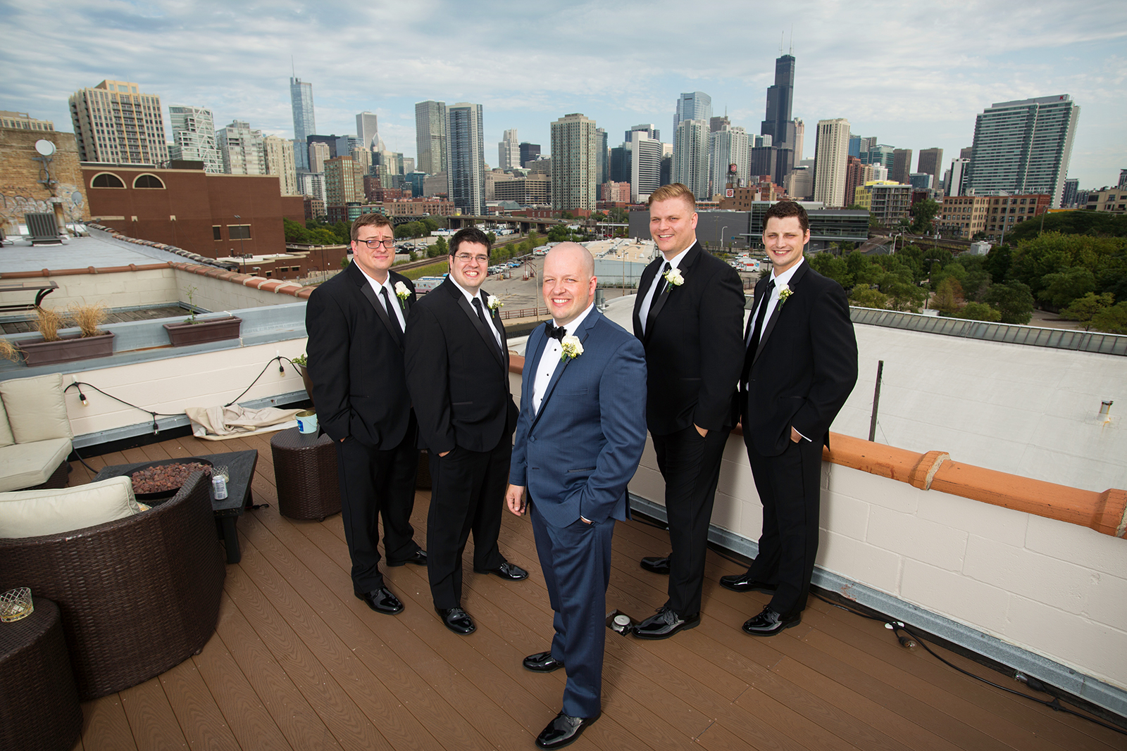 Groomsmen Portraits Rooftop Chicago