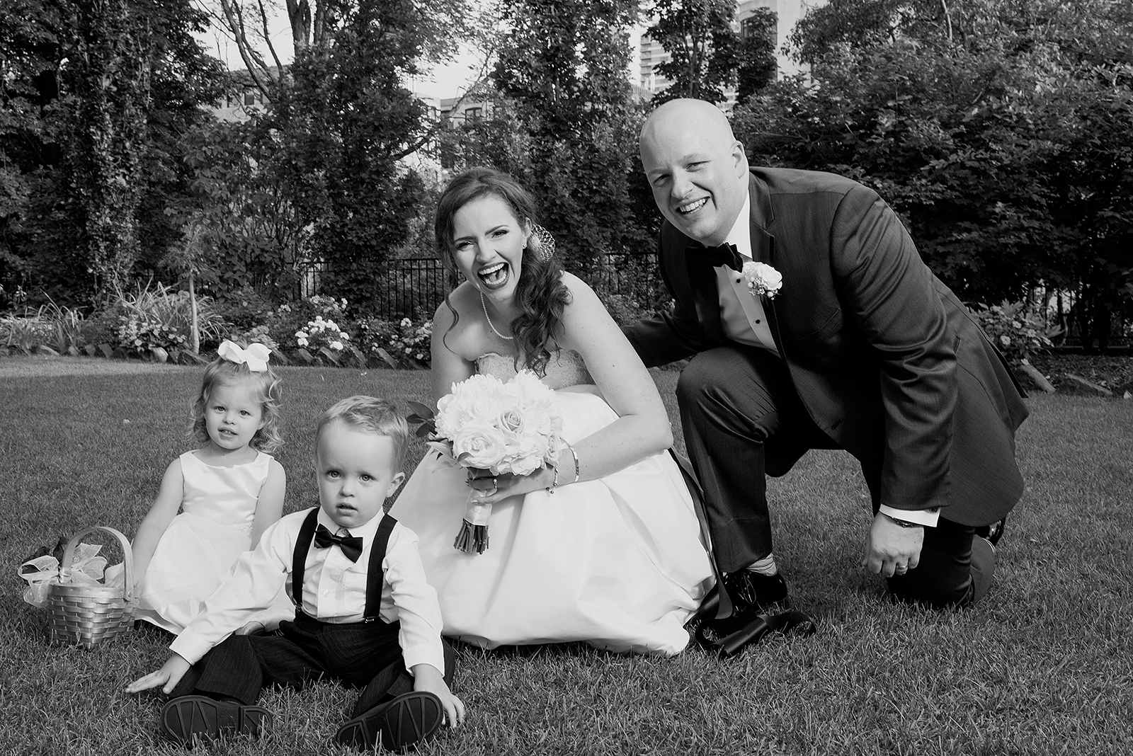 Black and White Bride Groom Ring Bearer Flower Girl