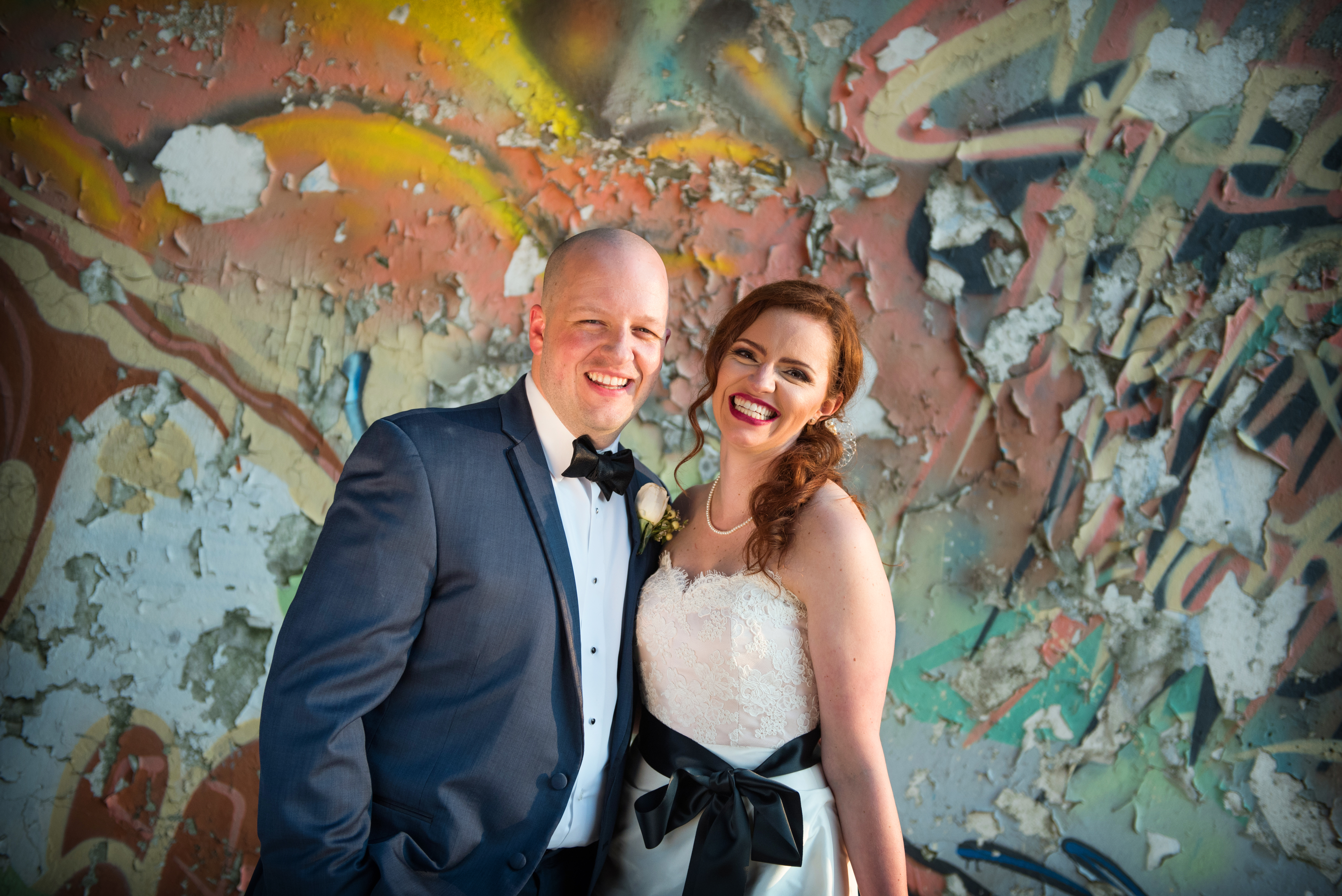 Colorful Bride and Groom Portrait Graffiti