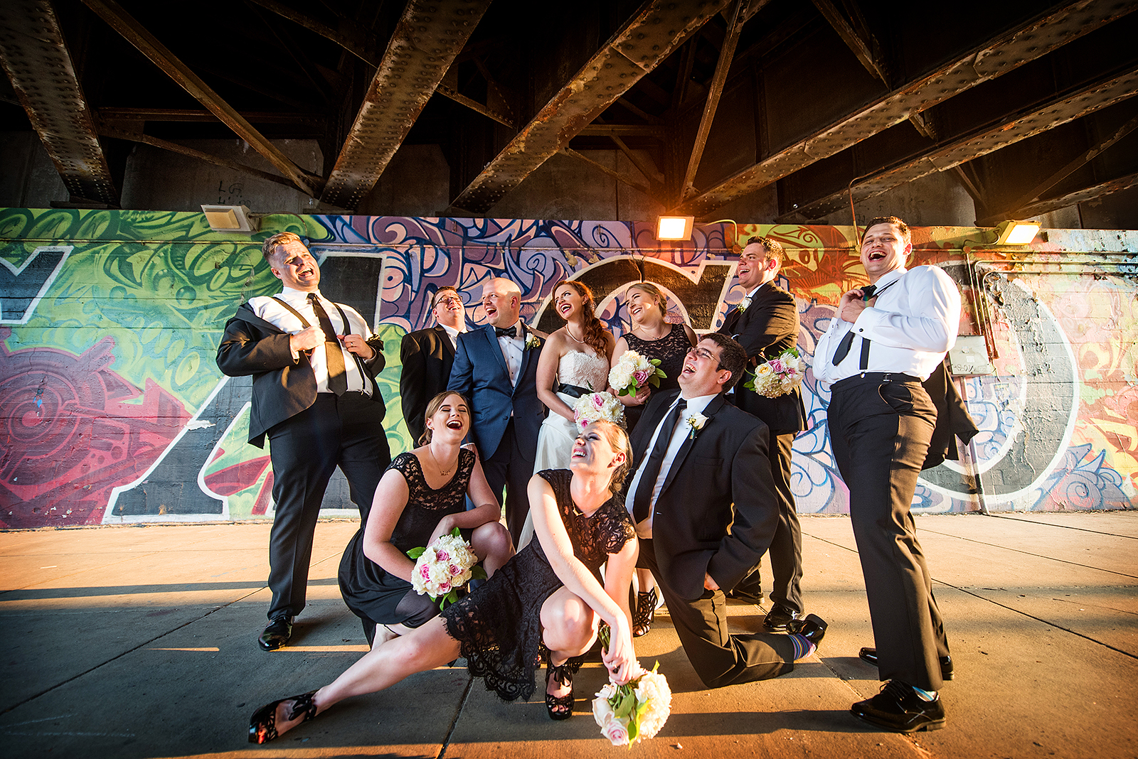 Wedding Party Graffiti Pose Chicago