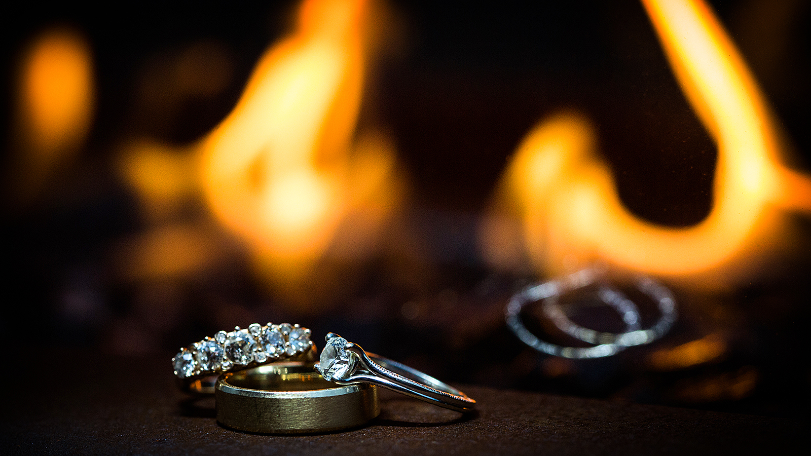Fire Wedding Rings