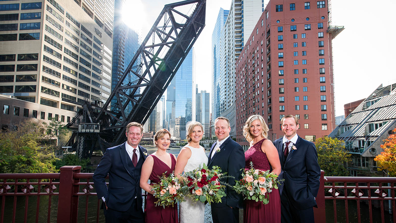 Wedding Party Portrait Kinzie Street Bridge Chicago