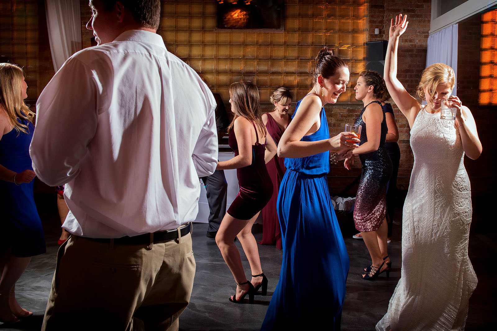 Wedding guest dancing Brique Chicago wedding reception