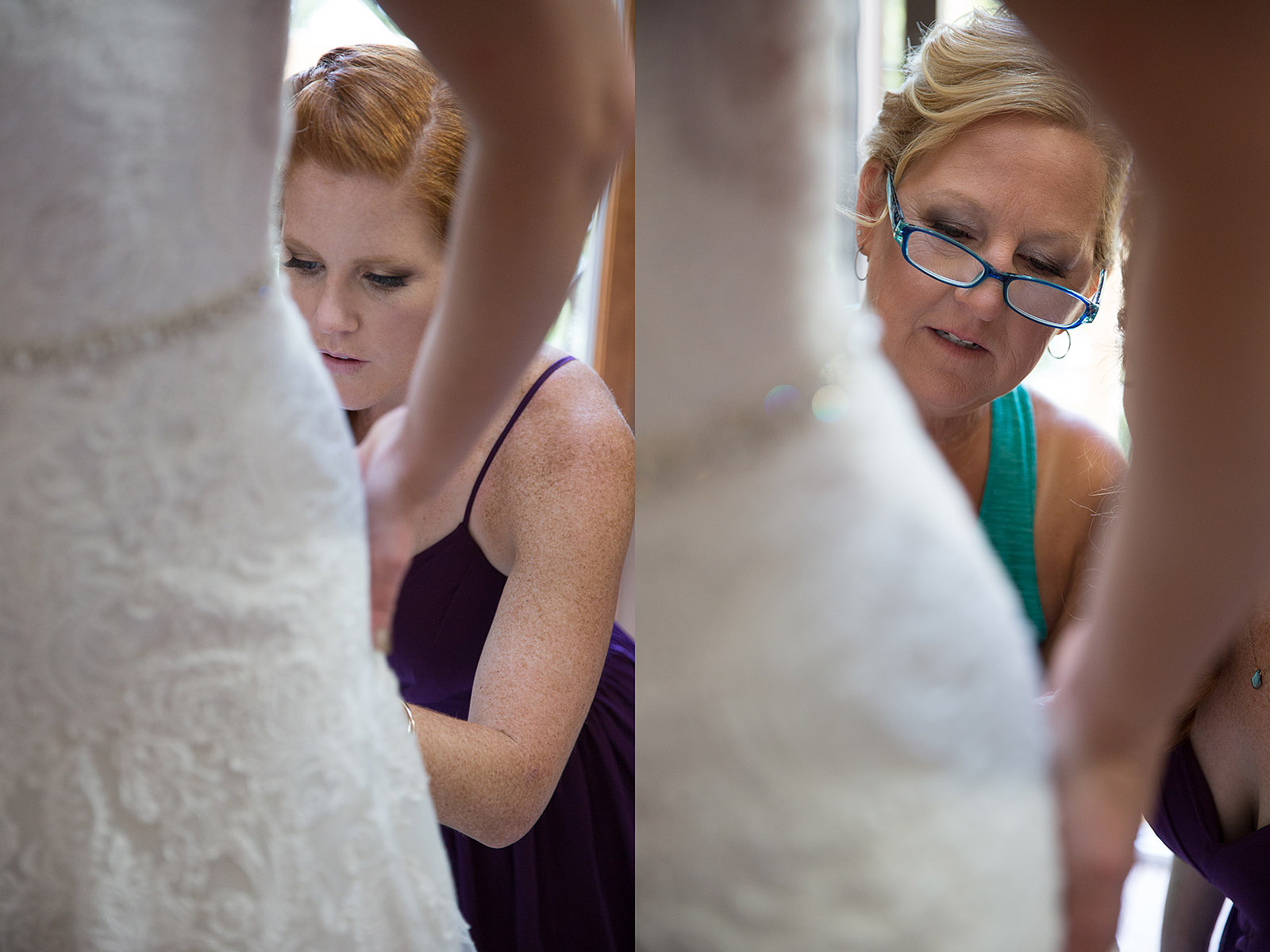 Maid Honor Mother Bride helping Dress