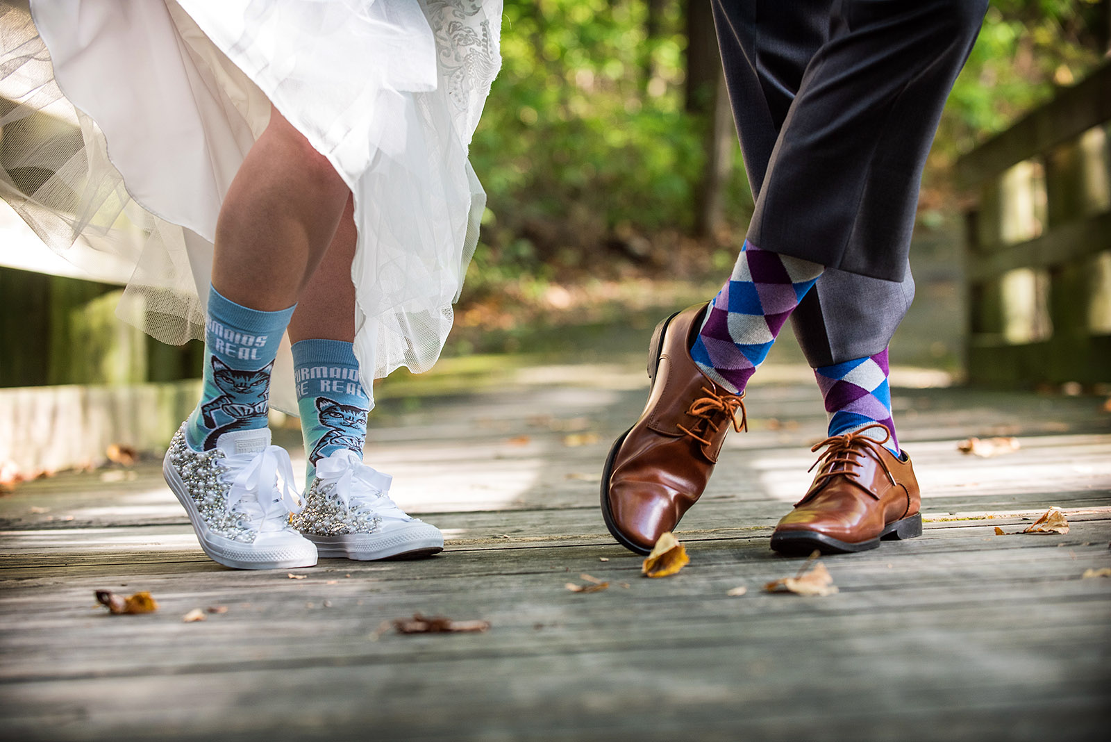 Bride Groom Socks Bridge Fall Colors