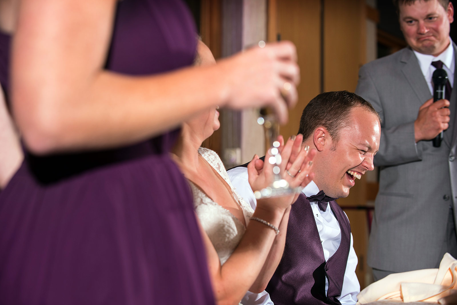 Groom Laughing Toast Speech Wedding Reception