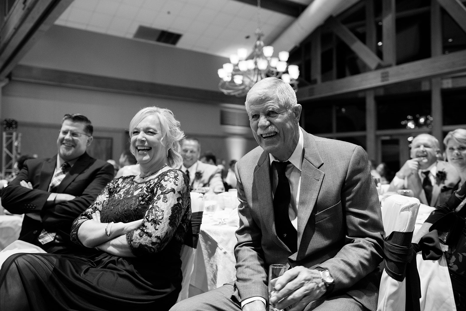 Parents Laughing Toast Speech Wedding Reception
