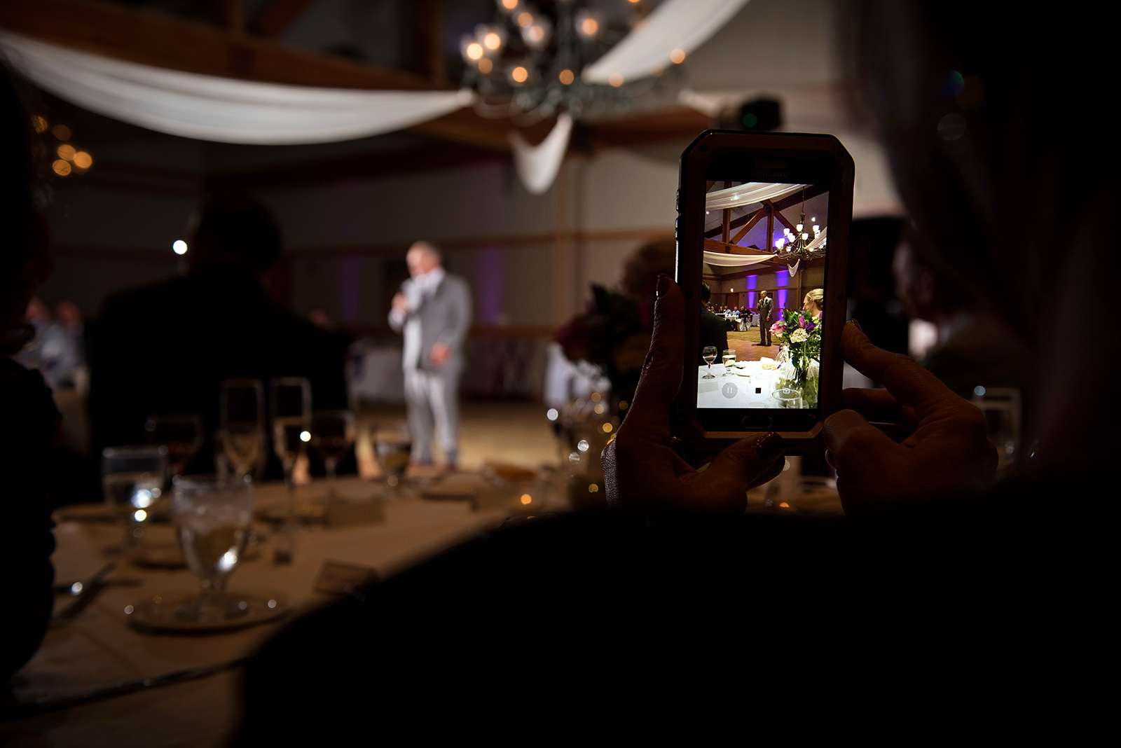 Unplugged Wedding Photo Toast Speech Cellphone