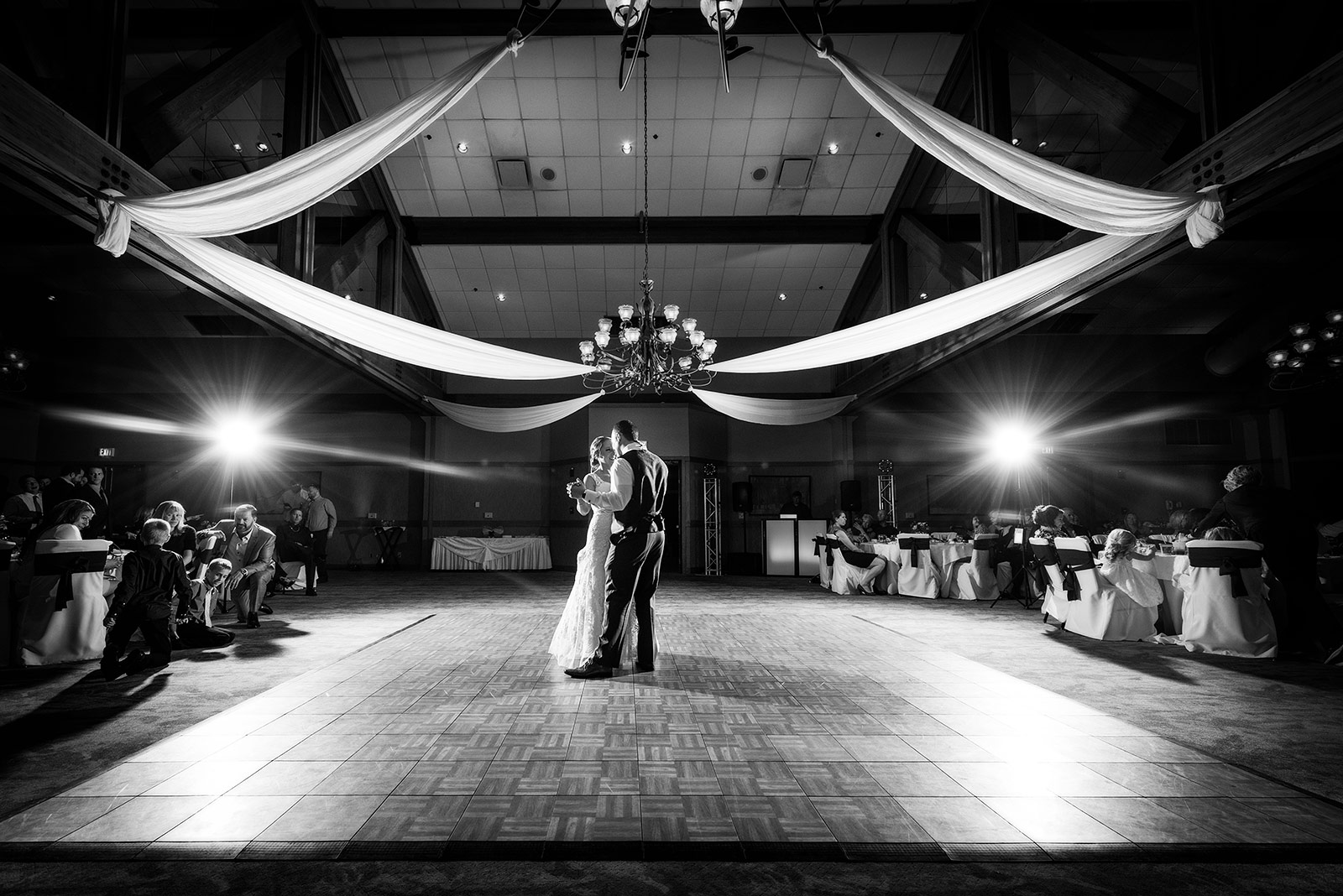 Bride Groom First Dance Eagle Ridge Resort Artistic Black White Photo