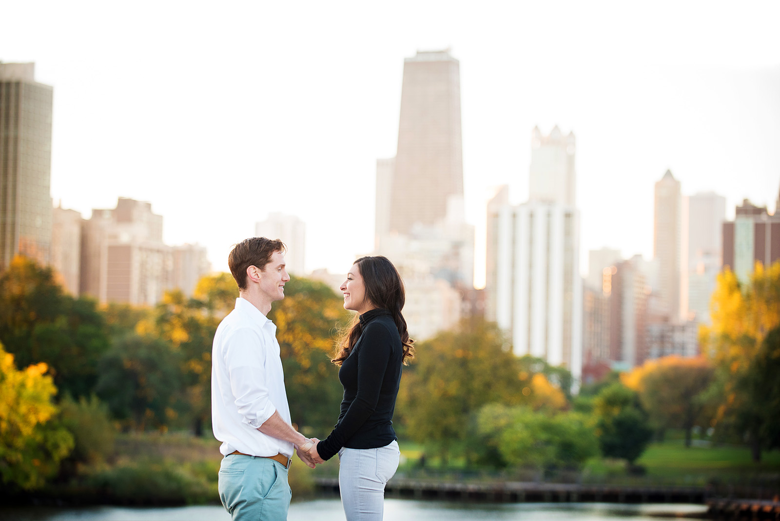 Chicago Skyline Lincoln Park Engagement Pictures