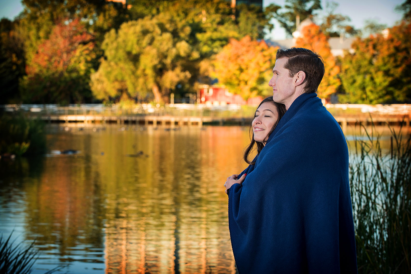 Lincoln Park Zoo South Pond Lake Engagement Photo