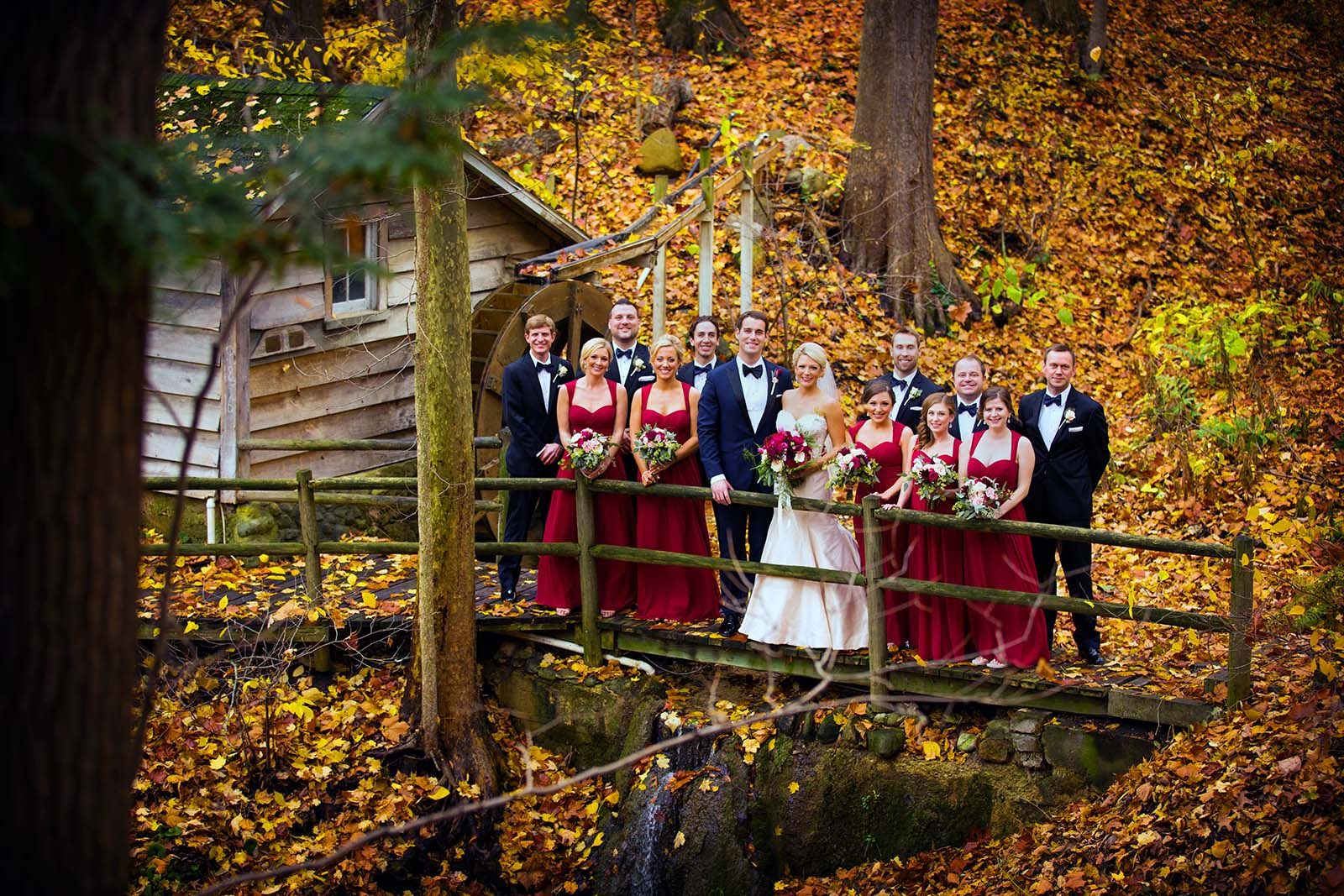Fall Wedding Party at Bridesmaids at the Chapel At The Morris Estate