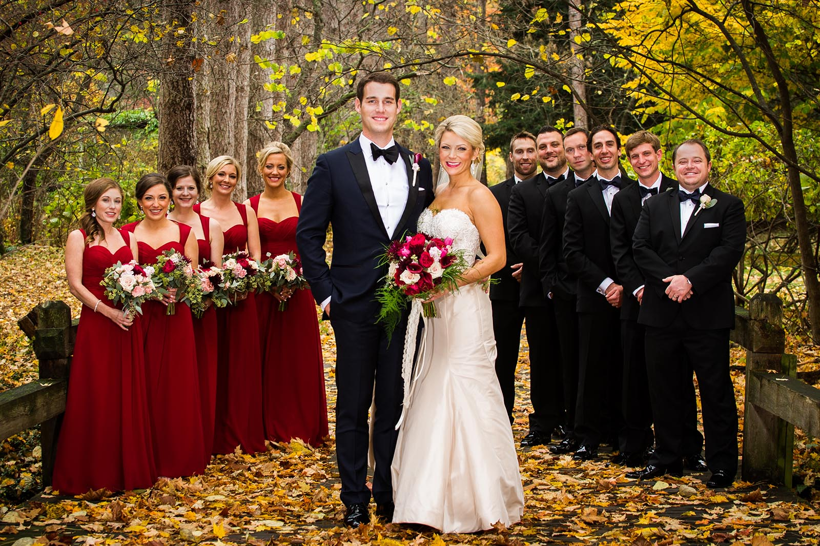Bridal Party at Fall Wedding in Forest