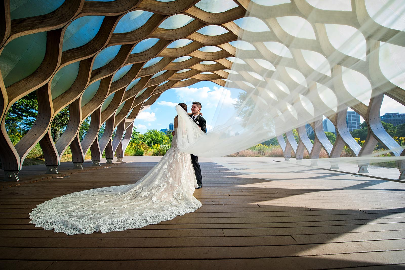 Bride Groom Wedding Day Honeycomb Lincoln Park Chicago South Pond
