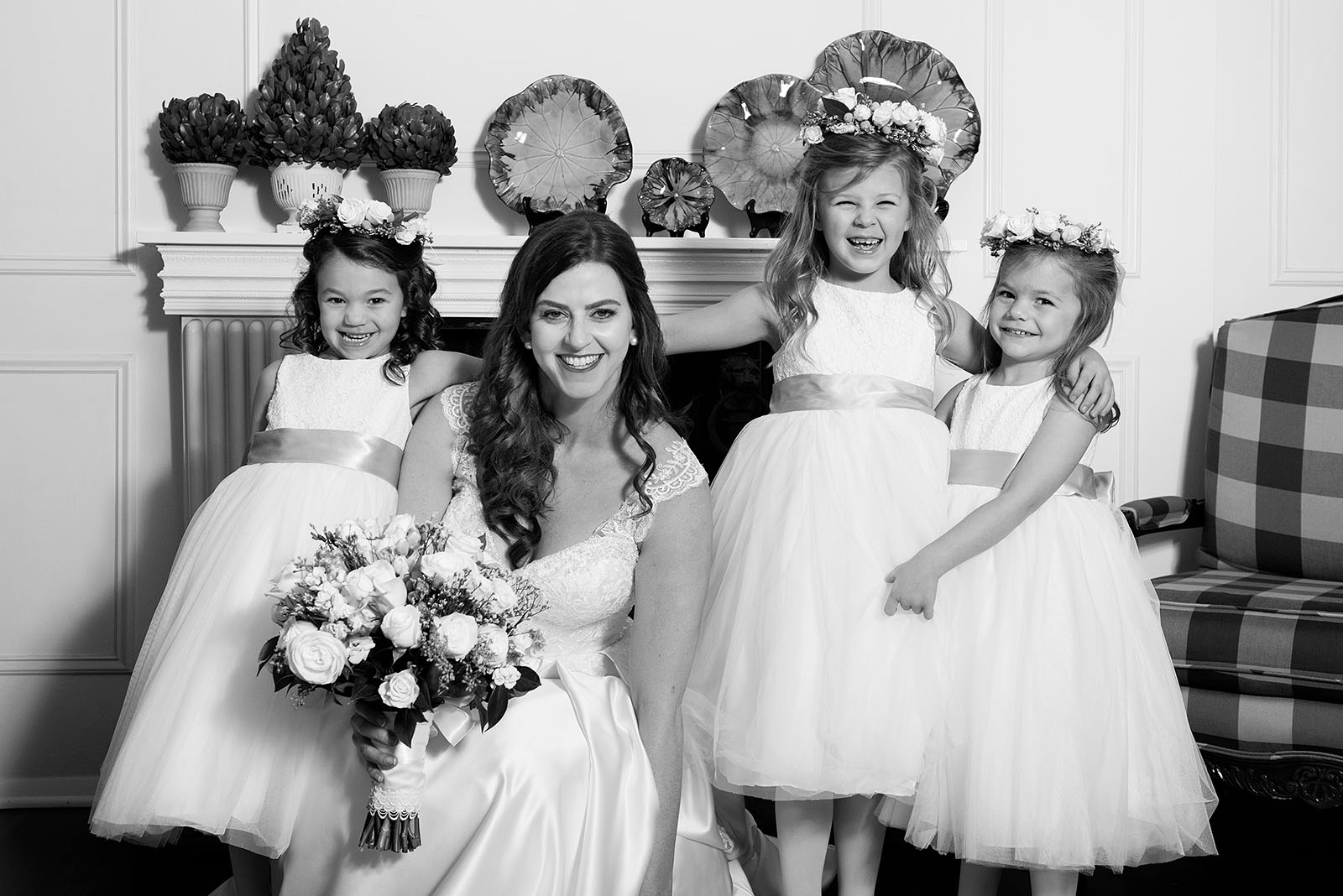 Bride Flowergirls Black White