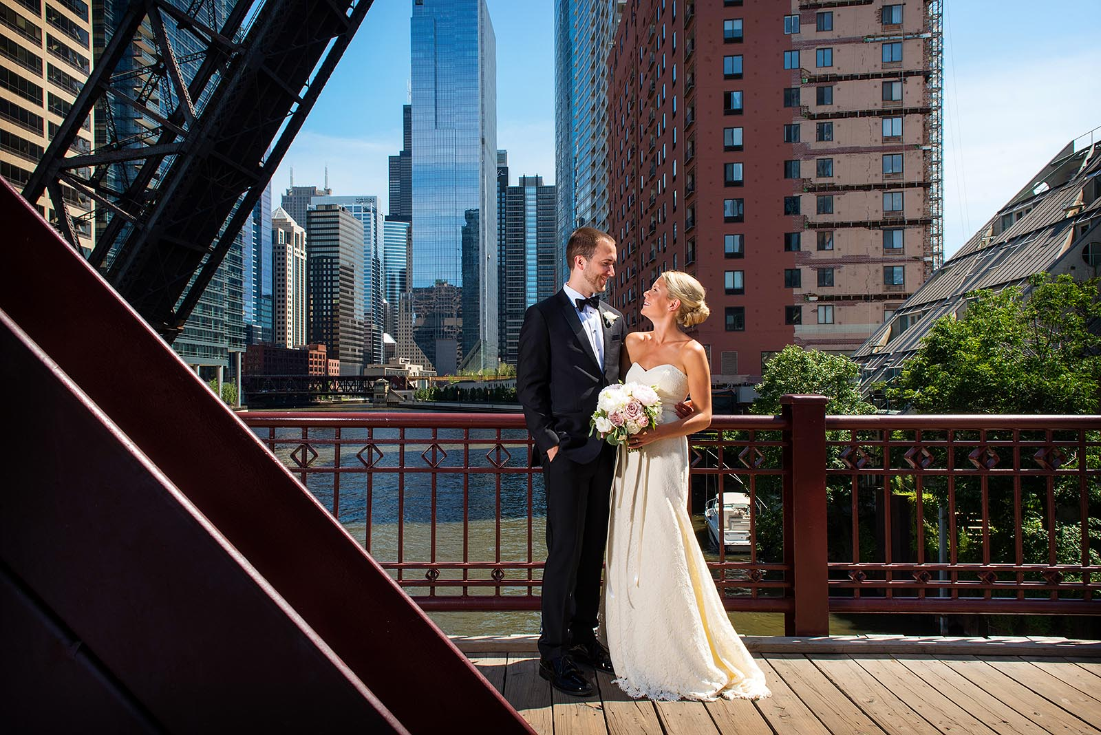 Kinzie St Bridge Wedding Photo