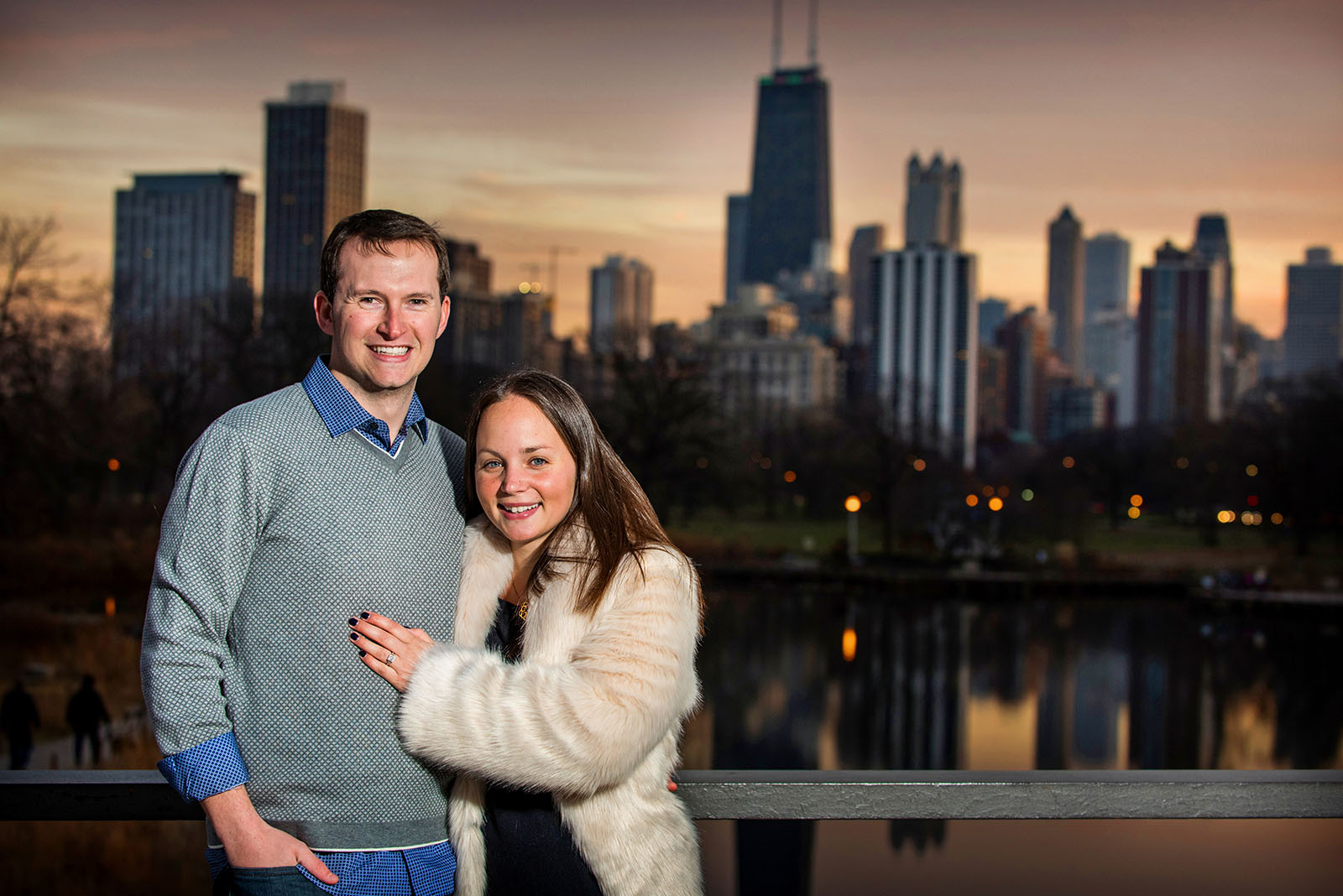 Chicago Skyline Sunset Engagement Session