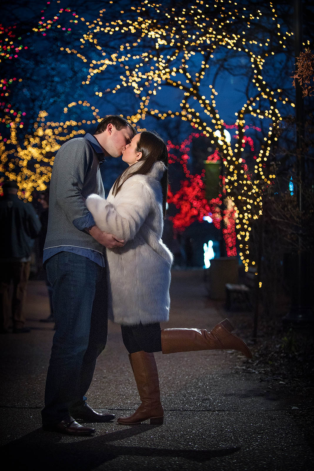 Engagement Session Christmas Lights Chicago
