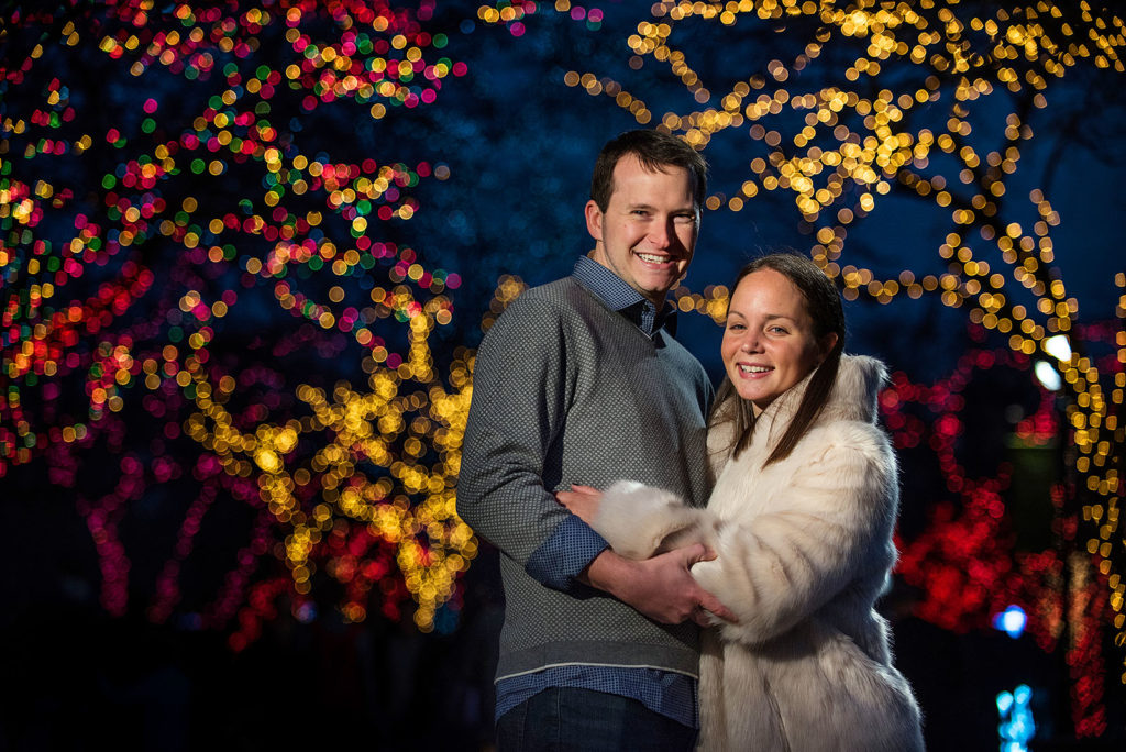 Engagement Session Winter Chicago Lights
