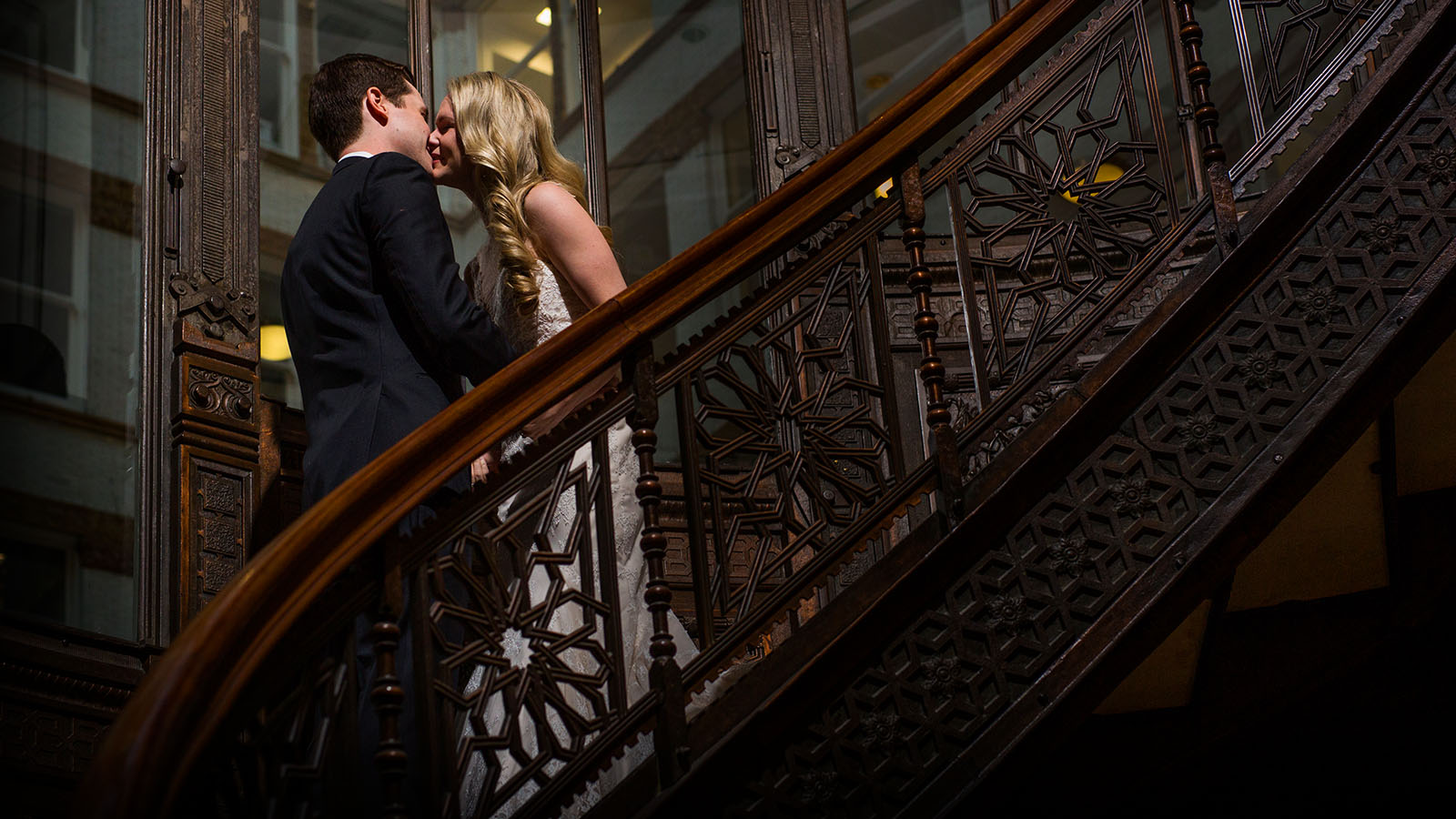Wedding Kiss Rookery Oriel Staircase