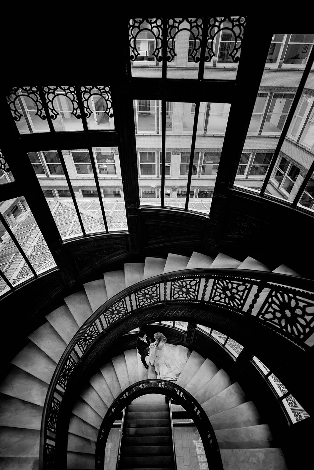 Rookery Oriel Stairs Bride Groom Black White
