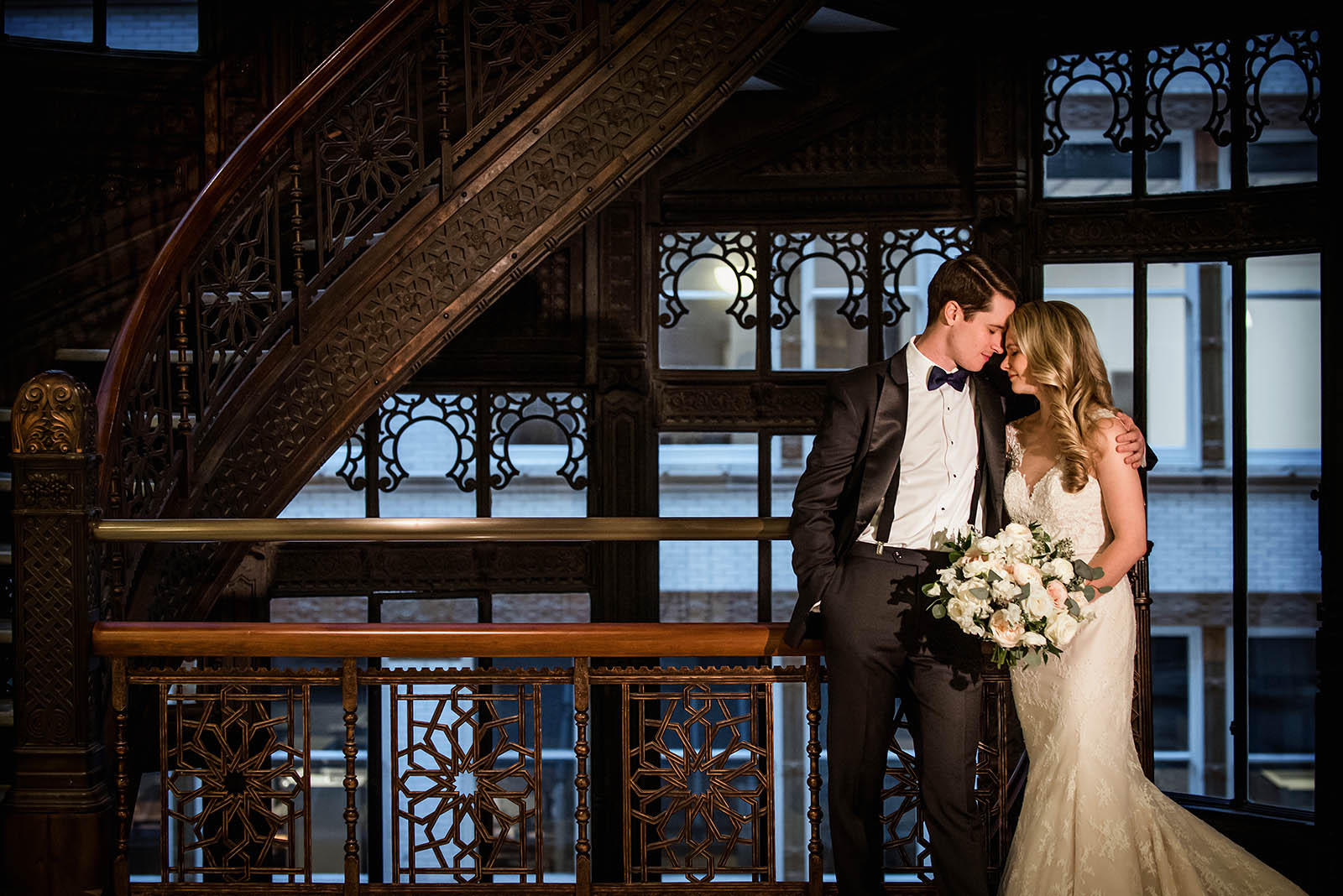 Rookery Chicago Stairs Photo Bride Groom