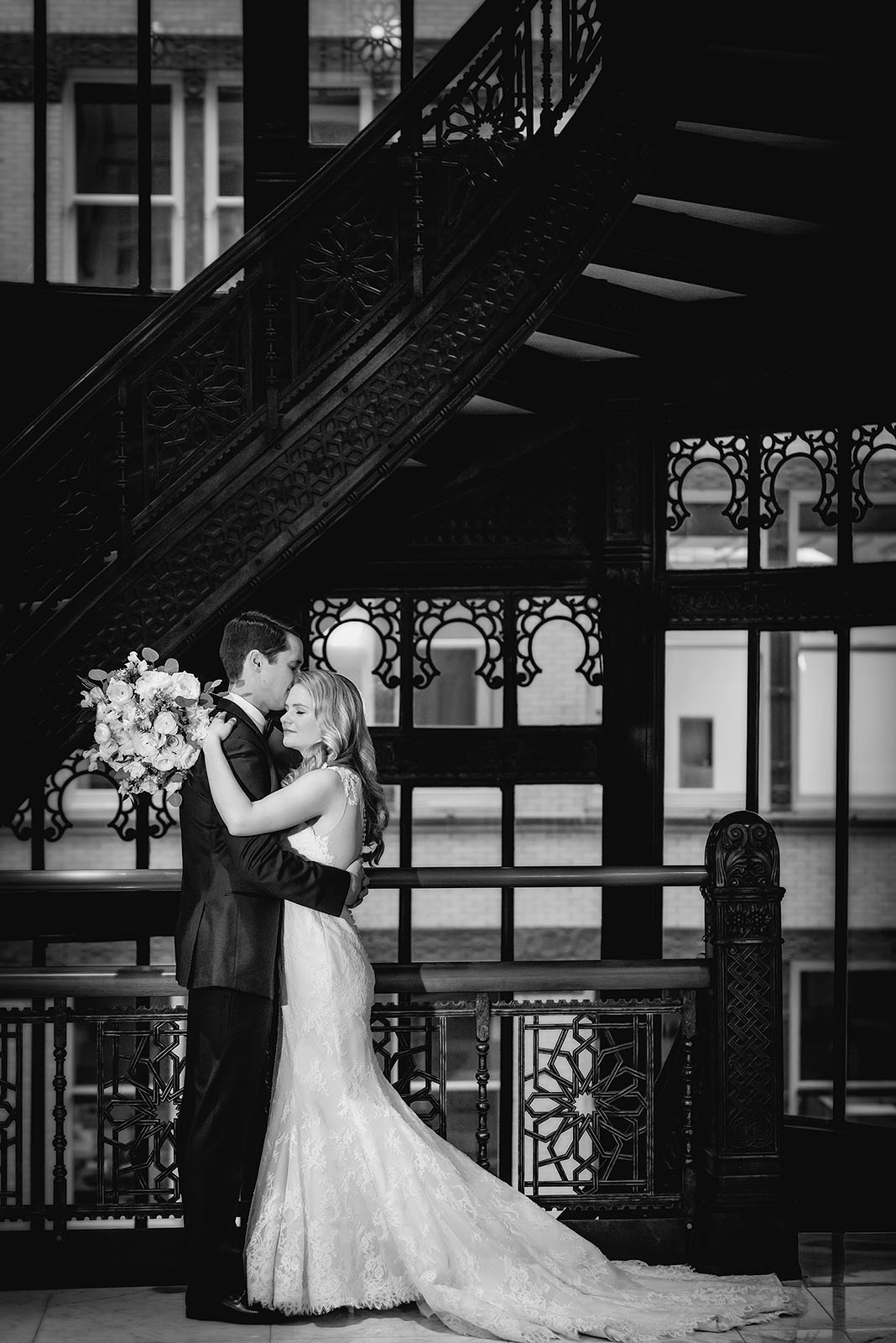Rookery Chicago Wedding Bride Groom Embrace
