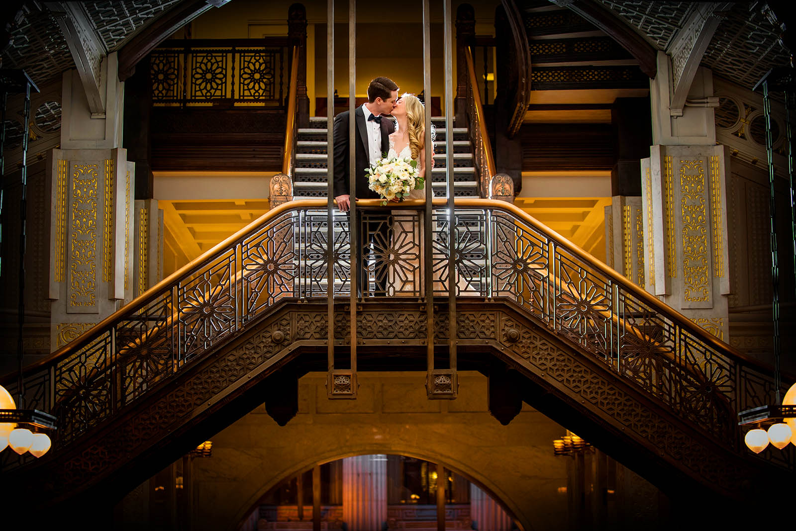 Oriel Staircase Colorful bride Groom Photo