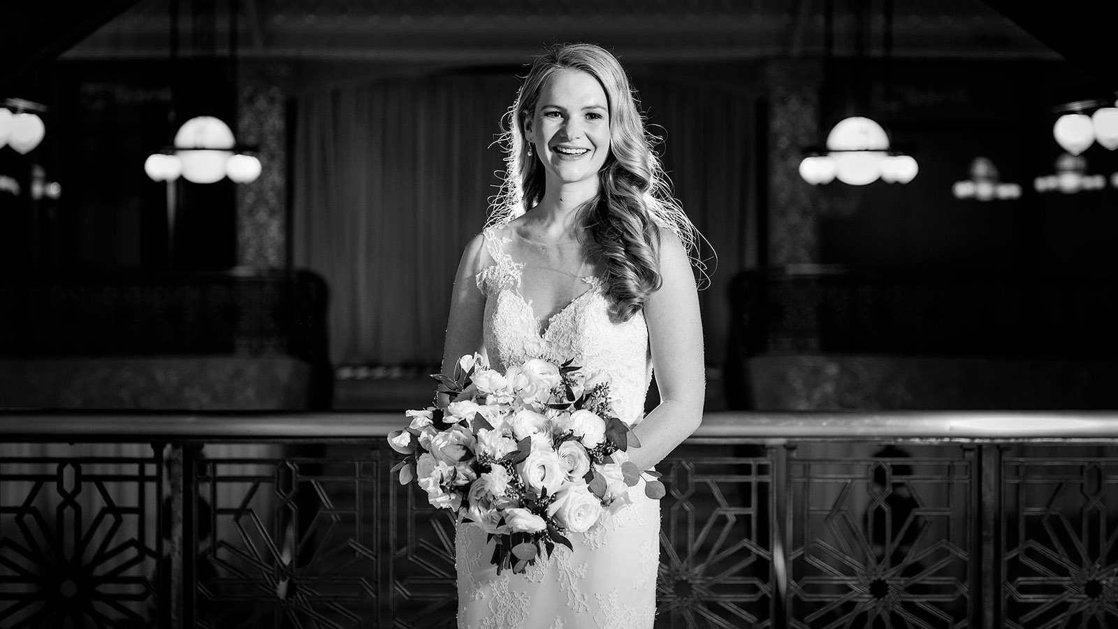 Rookery Chicago Black White Bridal Portrait