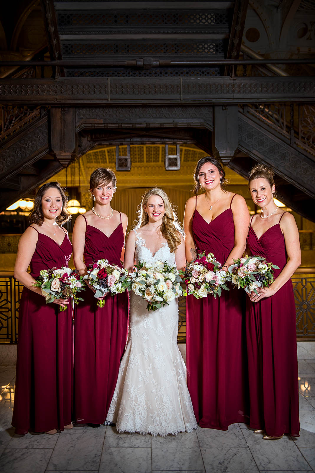 Bridal party bridesmaids crimson red dresses