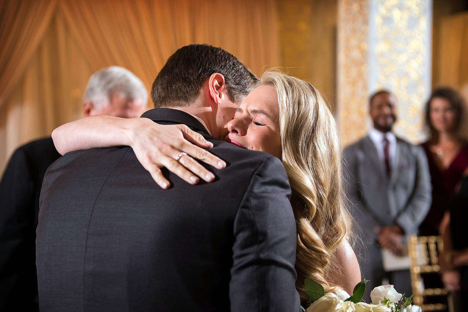 Tearful embrace Bride Groom Wedding