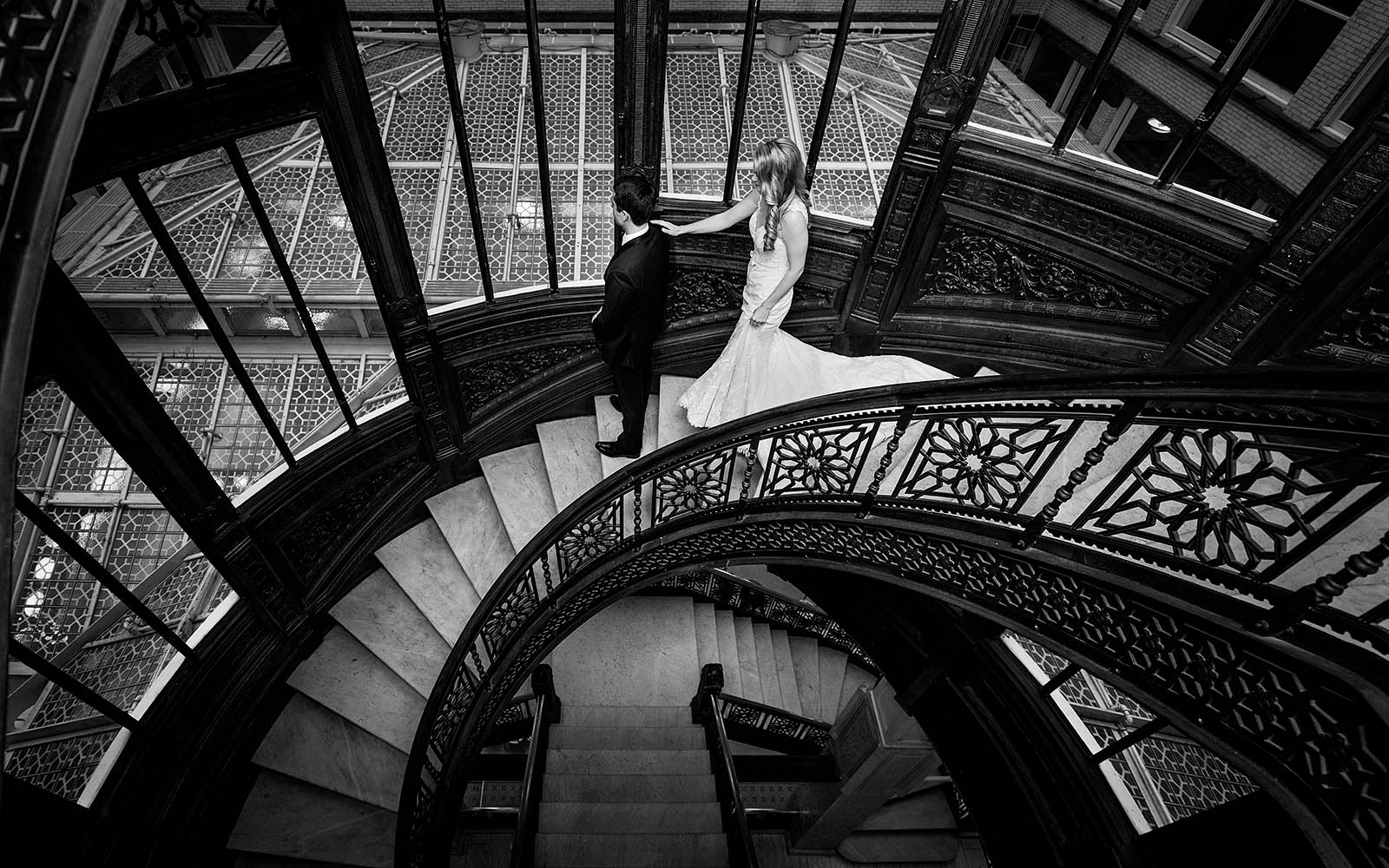 Oriel Staircase Rookery Wedding First Look