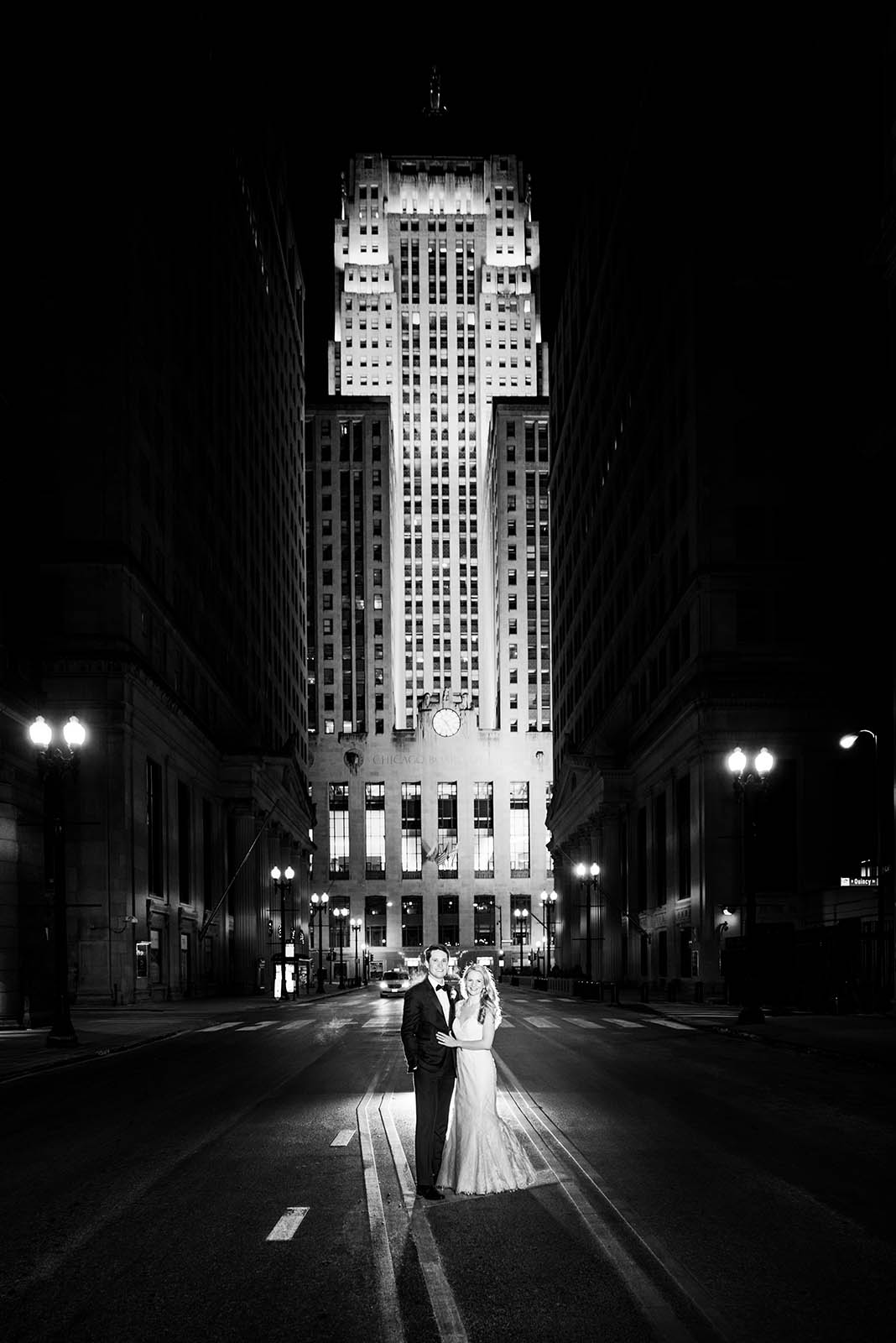 LaSalle Street Bride Groom Board of Trade Chicago