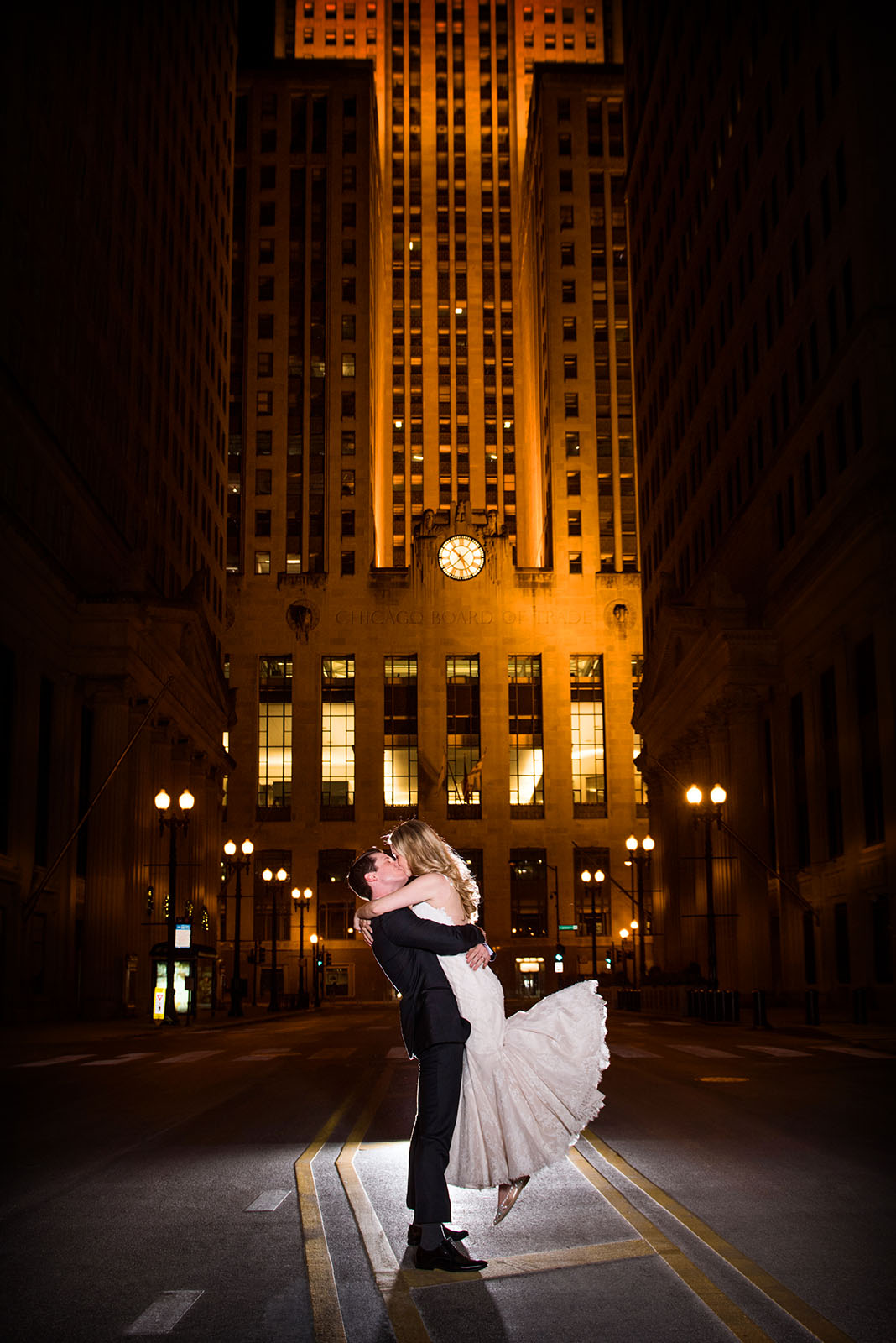 Bride being Lifted Groom LaSalle Street BOT