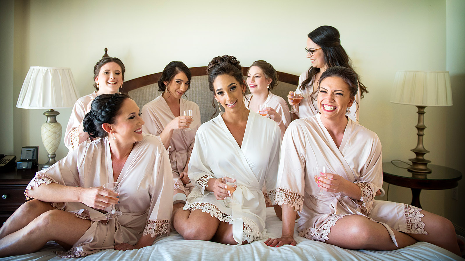 wedding party bridemaids in robes