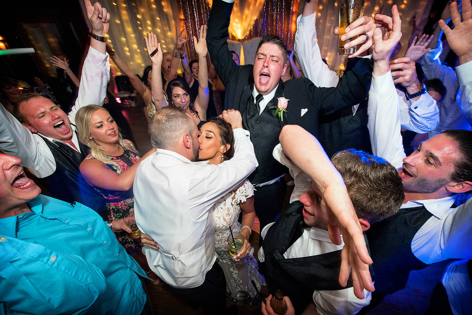 Bride Groom Friends Celebrating on Dance Floor