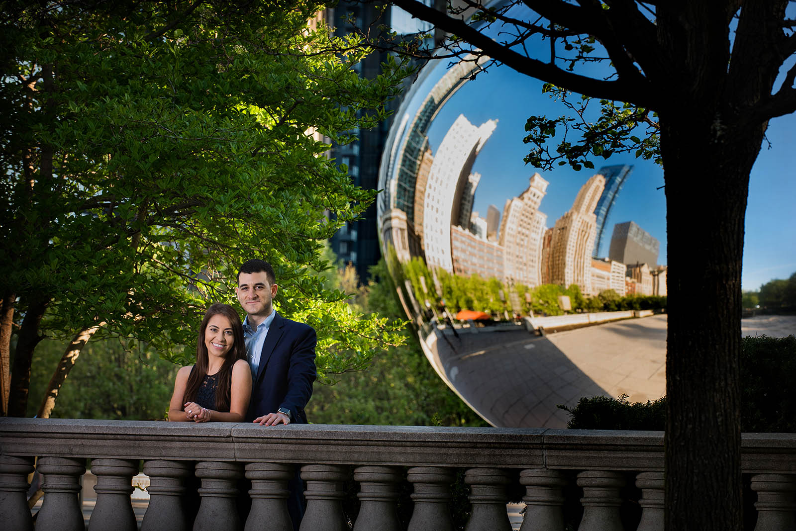 Chicago millennium park cloud gate engagement picture
