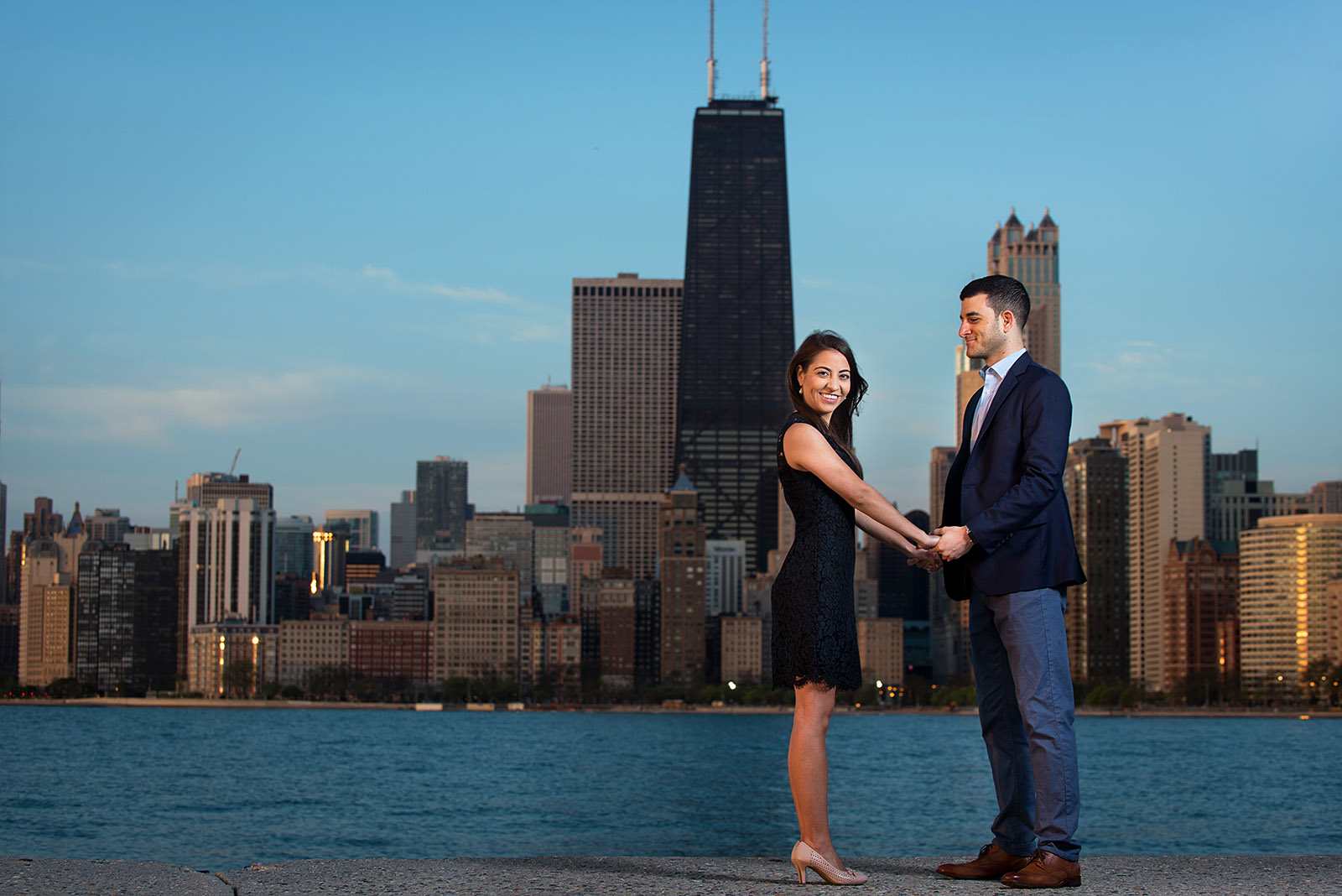 Chicago Skyline Sunrise Engagement Pictures